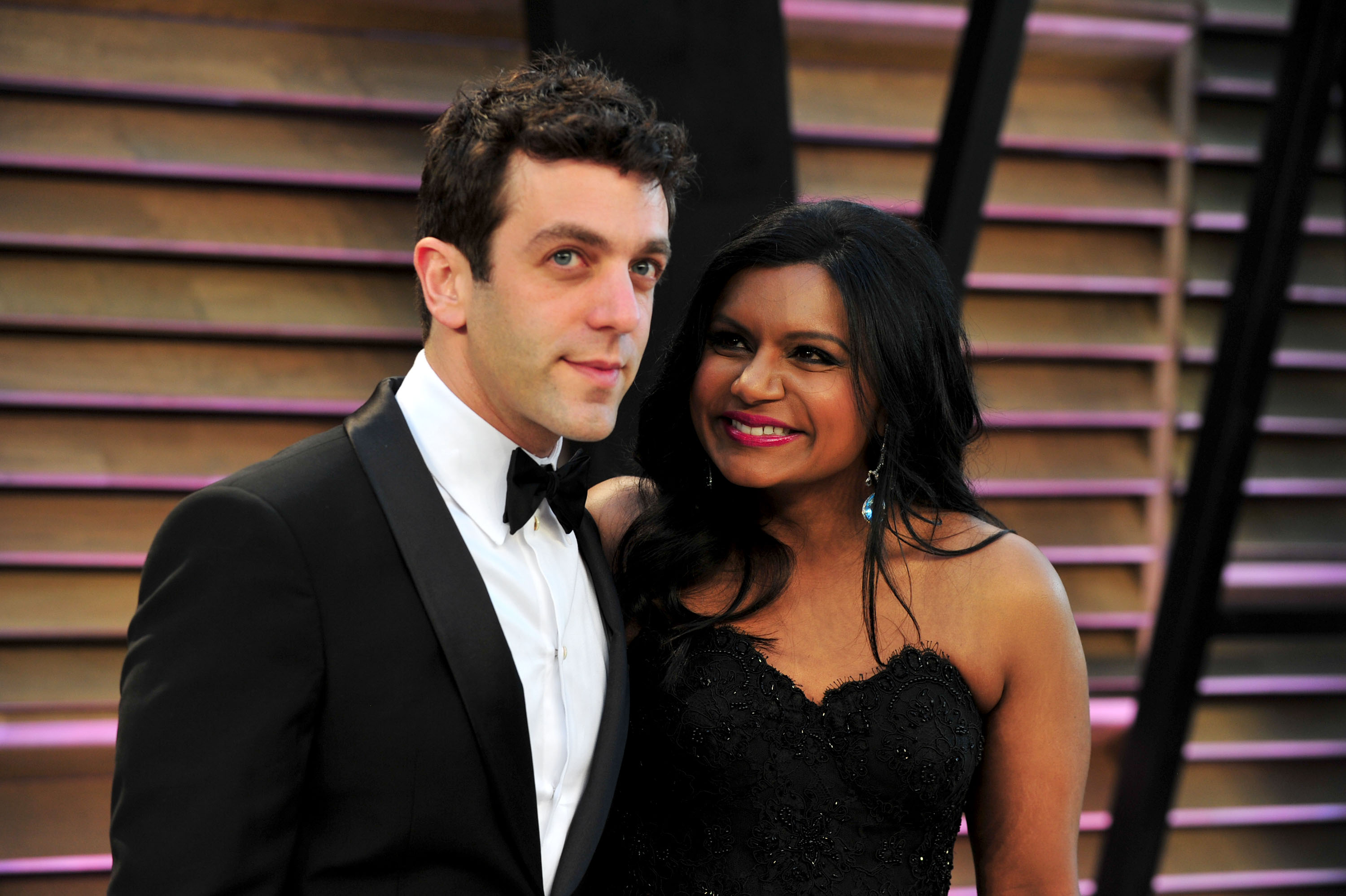Actor B.J. Novak (L) and Mindy Kaling attend the 2014 Vanity Fair Oscar Party, March 2, 2014 in West Hollywood, Calif.