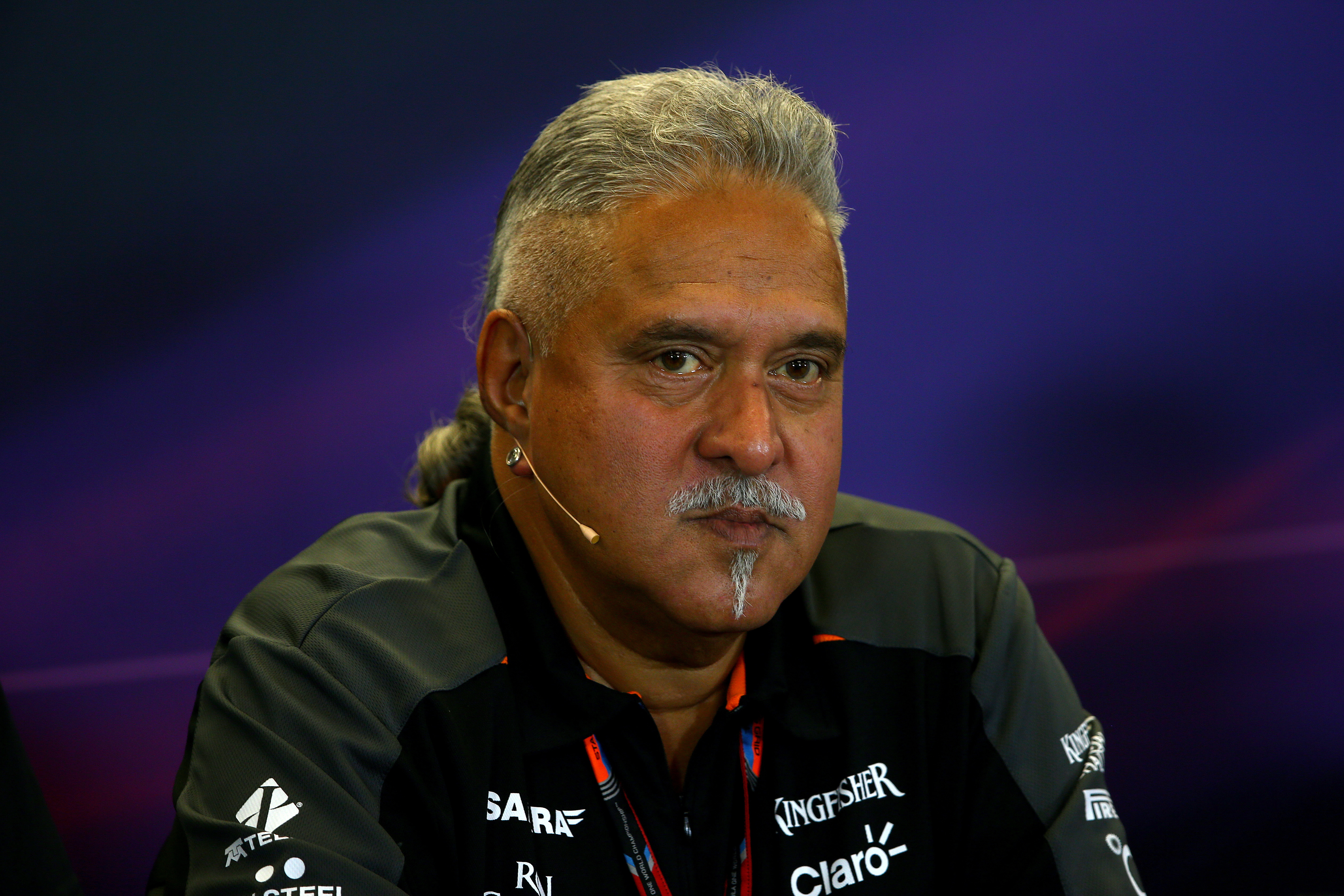 Vijay Mallya attends a press conference after practice for the U.S. Formula 1 Grand Prix at Circuit of the Americas on Oct. 23, 2015, in Austin