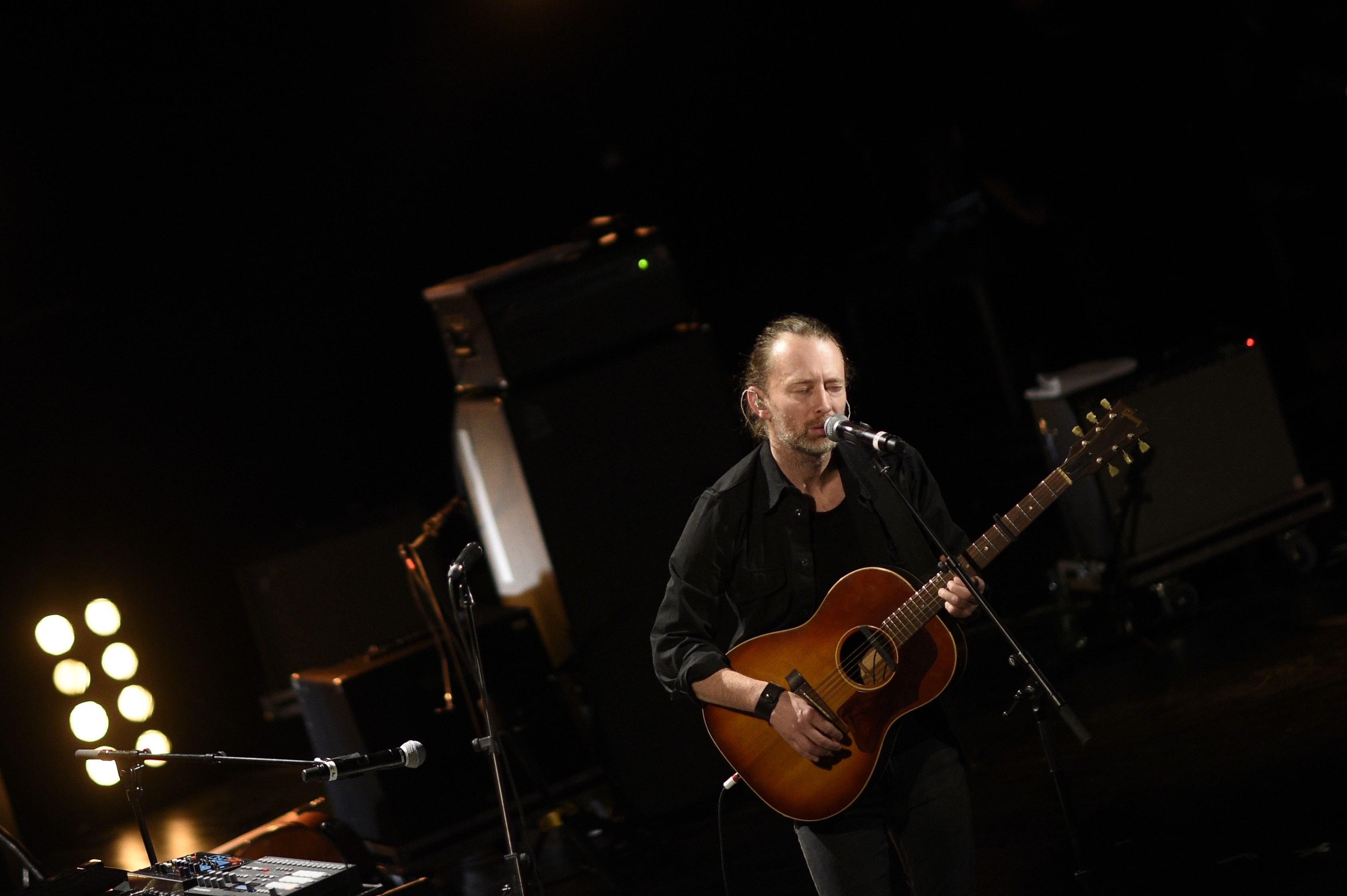 British singer and leader of Radiohead, Thom Yorke performs on the stage of the Trianon in Paris, on Dec. 4, 2015