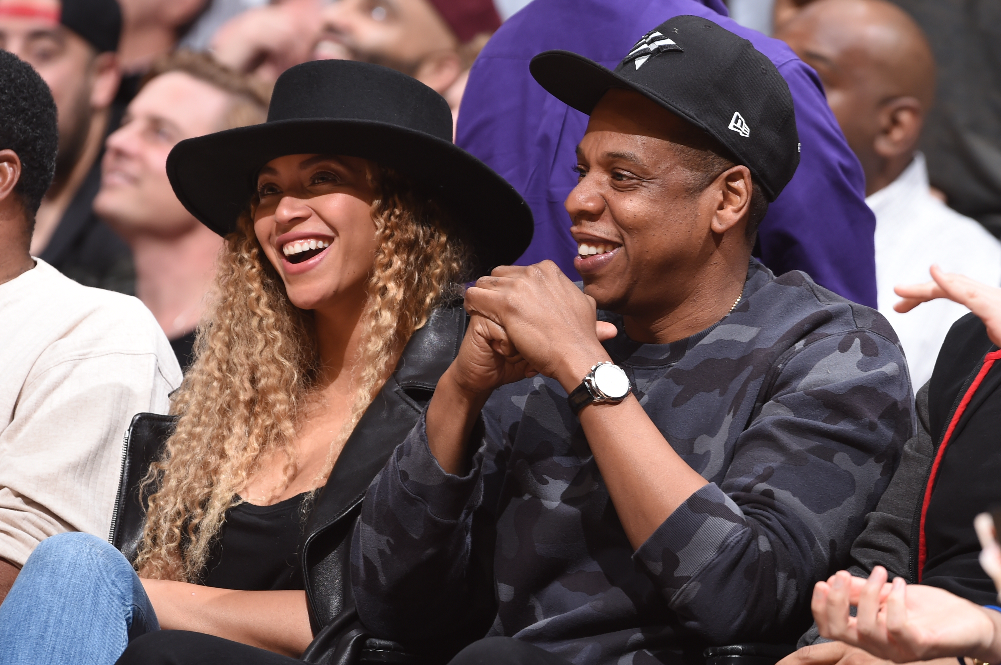 Singer, Beyonce and Rapper, Jay-Z attend the Oklahoma City Thunder game against the Los Angeles Clippers on March 2, 2016 at STAPLES Center in Los Angeles, California.