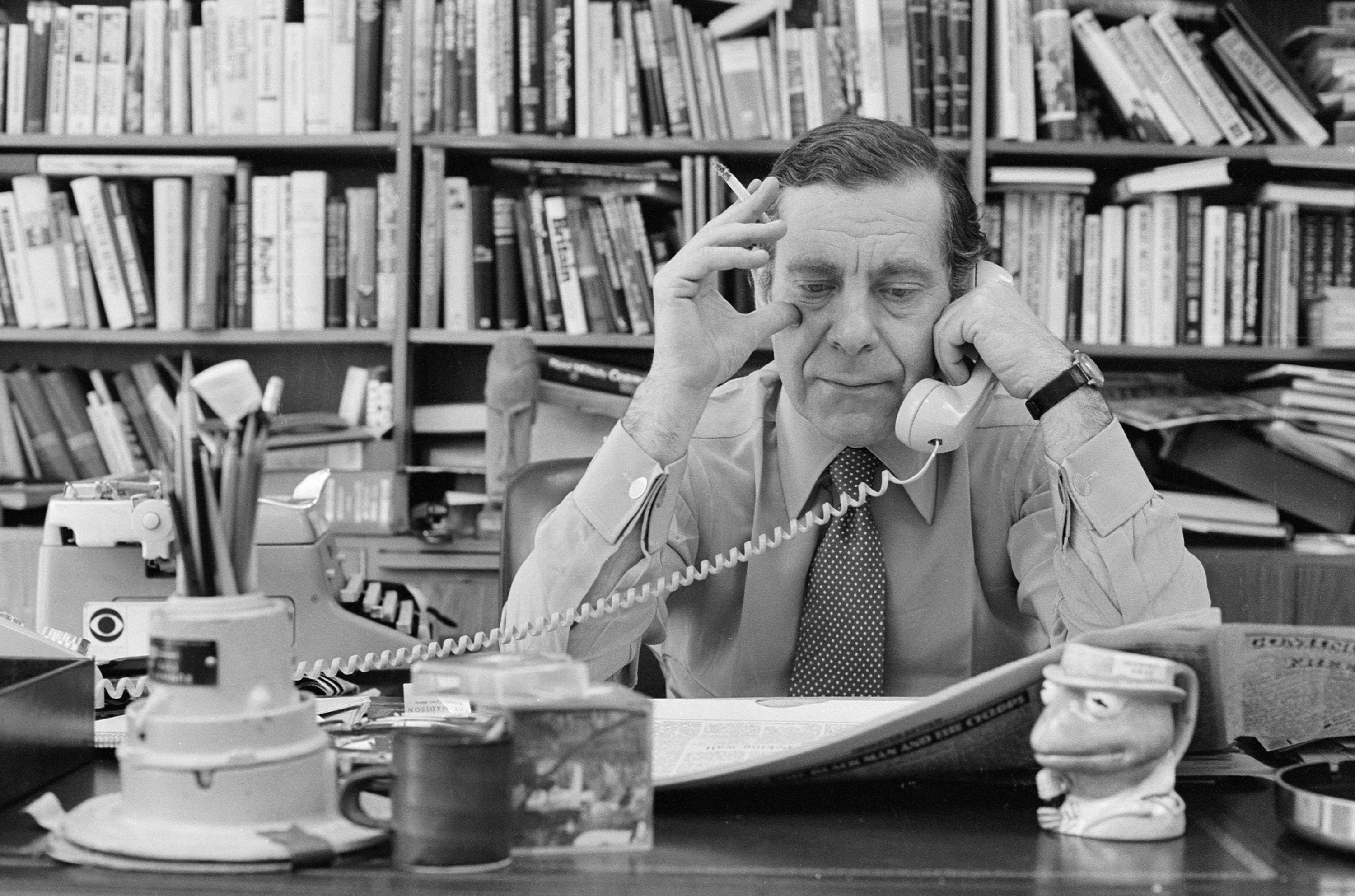 Morley Safer in his office on April 21, 1980