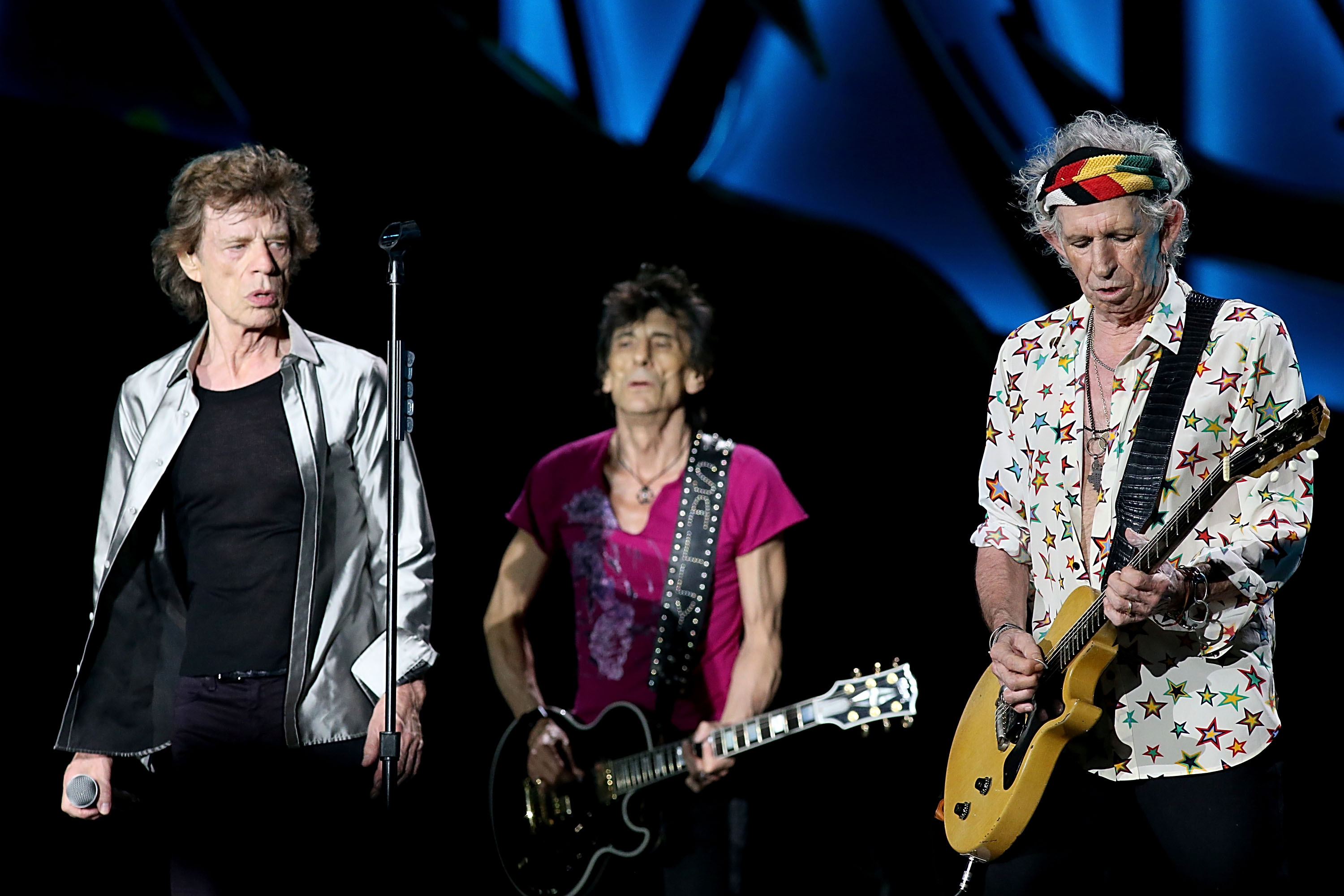 (L - R) Mick Jagger, Ron Wood and Keith Richards perform with the Rolling Stones at Ciudad Deportiva on March 25, 2016 in Havana, Cuba