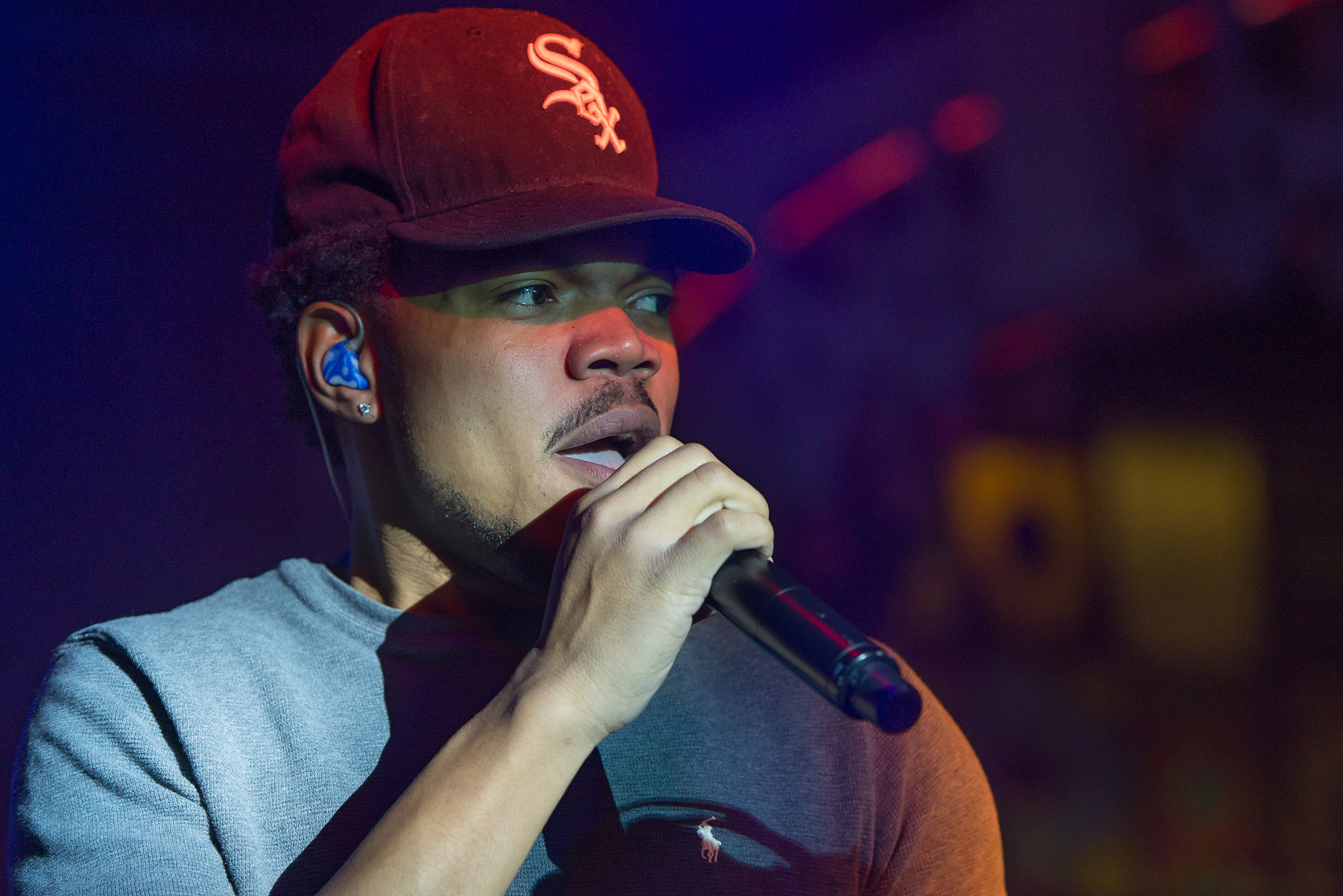 Hip-hop artist Chance The Rapper performs during the SoundCloud Go Launch at Flash Factory on March 31, 2016 in New York City.