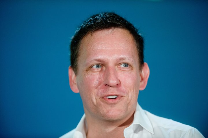 Peter Thiel, founding investor in PayPal Inc. and Facebook Inc., speaks during the LendIt USA 2016 conference in San Francisco, April 12, 2016.