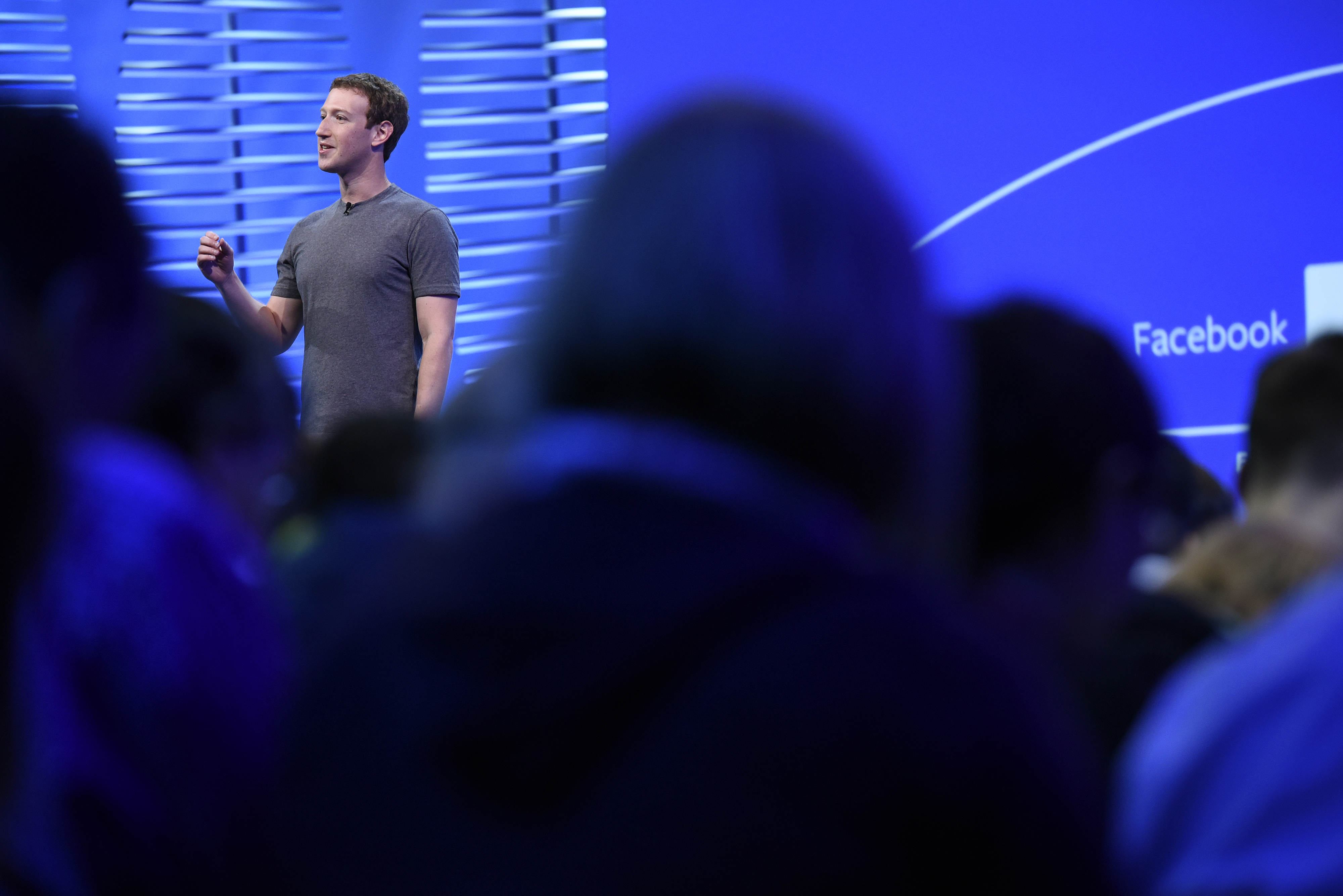 Mark Zuckerberg, founder and CEO of Facebook, speaks during the Facebook F8 Developers Conference in San Francisco on April 12, 2016