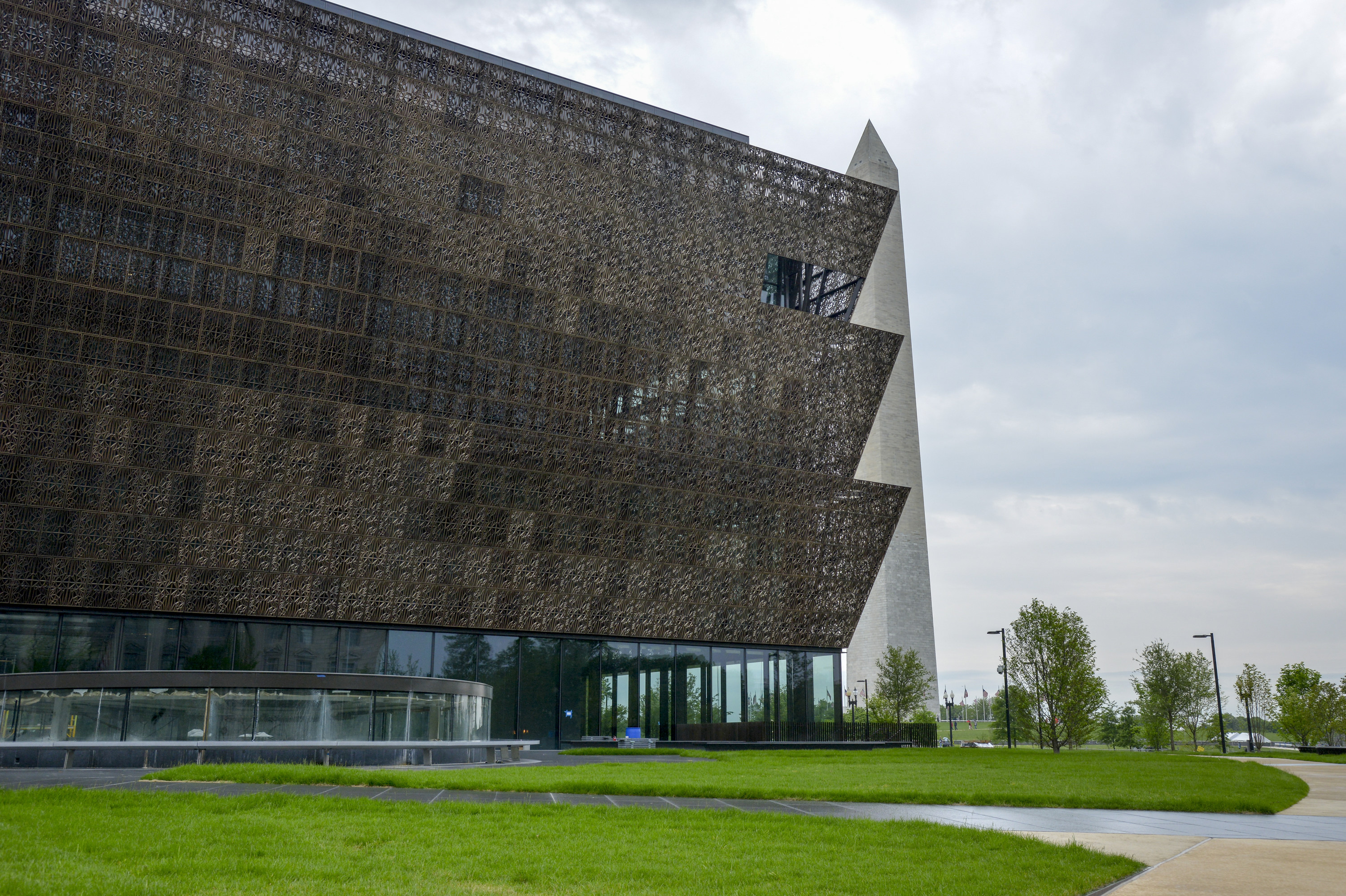 The Smithsonian National Museum of African American History and Culture sits near the Washington Monument in Washington on May 10, 2016.