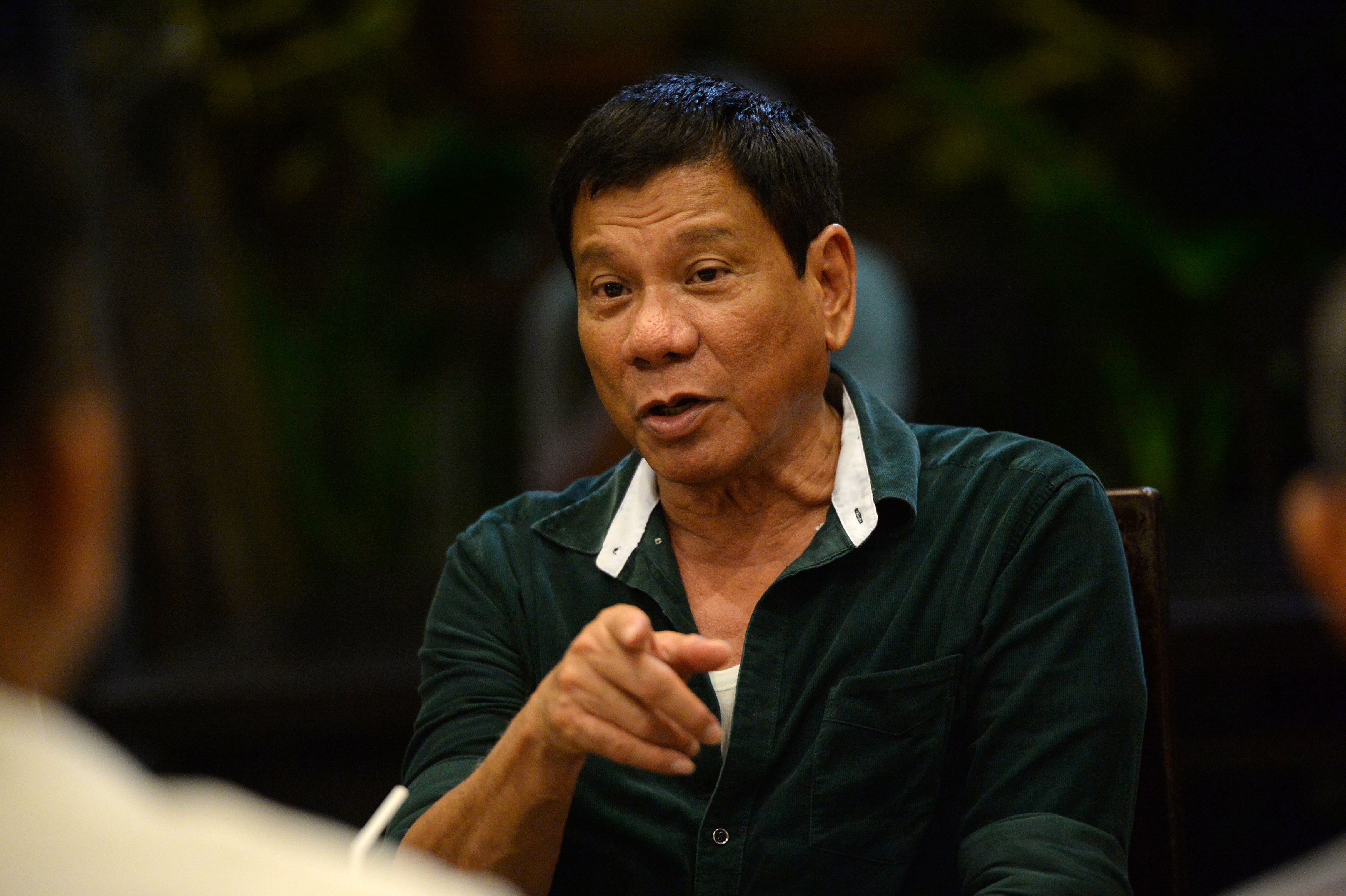 The Philippine President-elect Rodrigo Duterte during a meeting at a hotel in Davao City, in the Philippines' southern island of Mindanao, on May 15, 2016