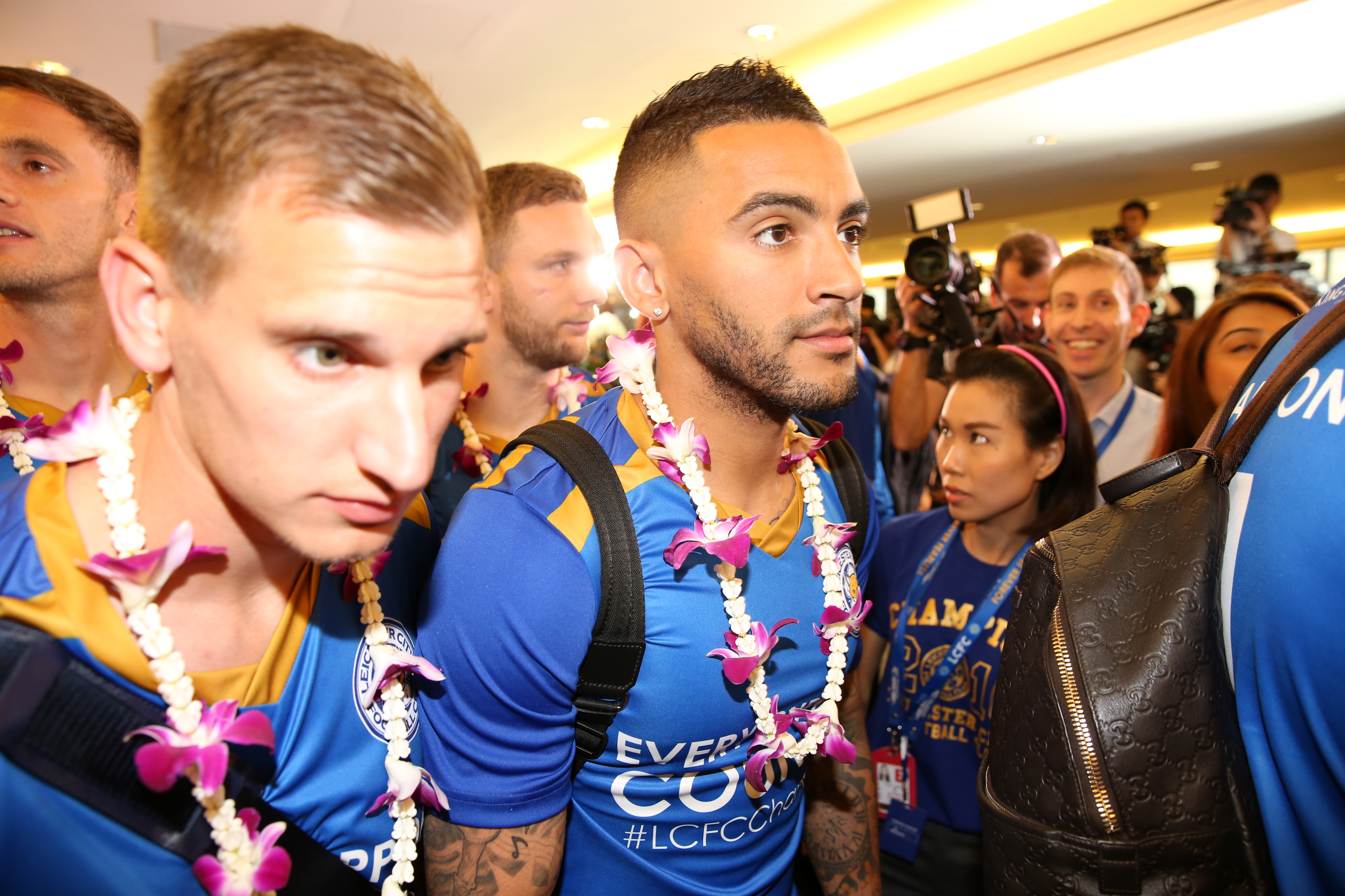 Leicester City's Marc Albrighton and Danny Simpson arrive in Bangkok for the Post-Season Tour of Bangkok on May 18, 2016.