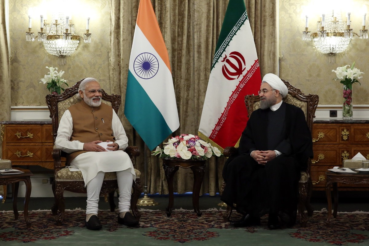 Indian Prime Minister Narendra Modi, left, meets with Iranian President Hassan Rouhani in Tehran on May 23, 2016