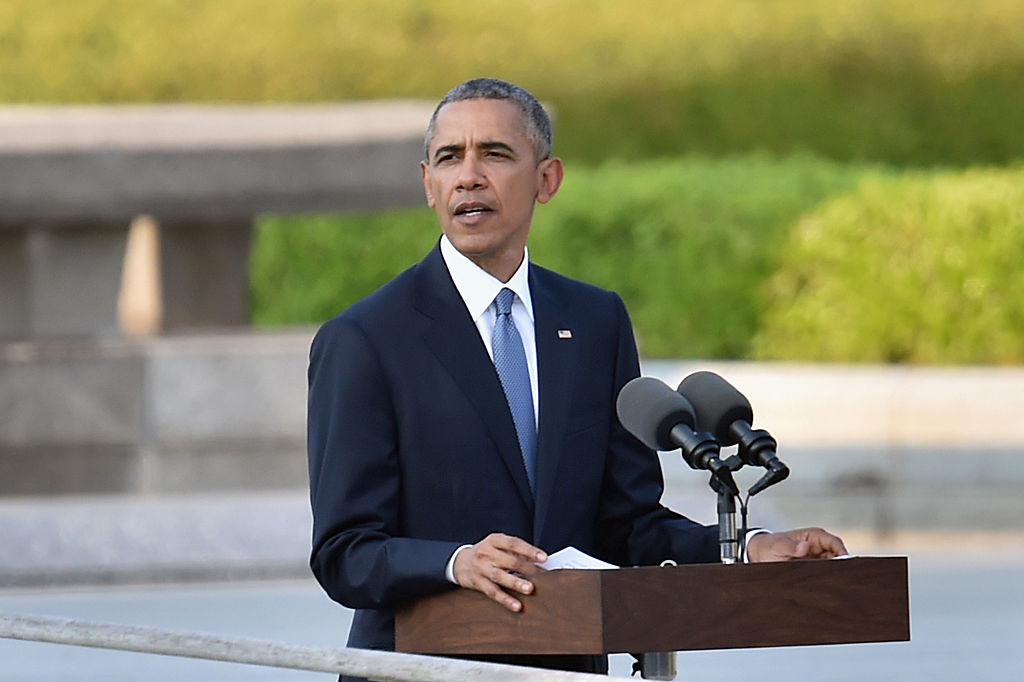 HIROSHIMA, JAPAN - MAY 27:  U.S. President Barack Obama gives a speech during his visit to the Hiroshima Peace Memorial Park on May 27, 2016 in Hiroshima, Japan. It is the first time U.S. President makes an official visit to Hiroshima, the site where the atomic bomb was dropped in the end of World War II on August 6, 1945.  (Photo by Atsushi Tomura/Getty Images)