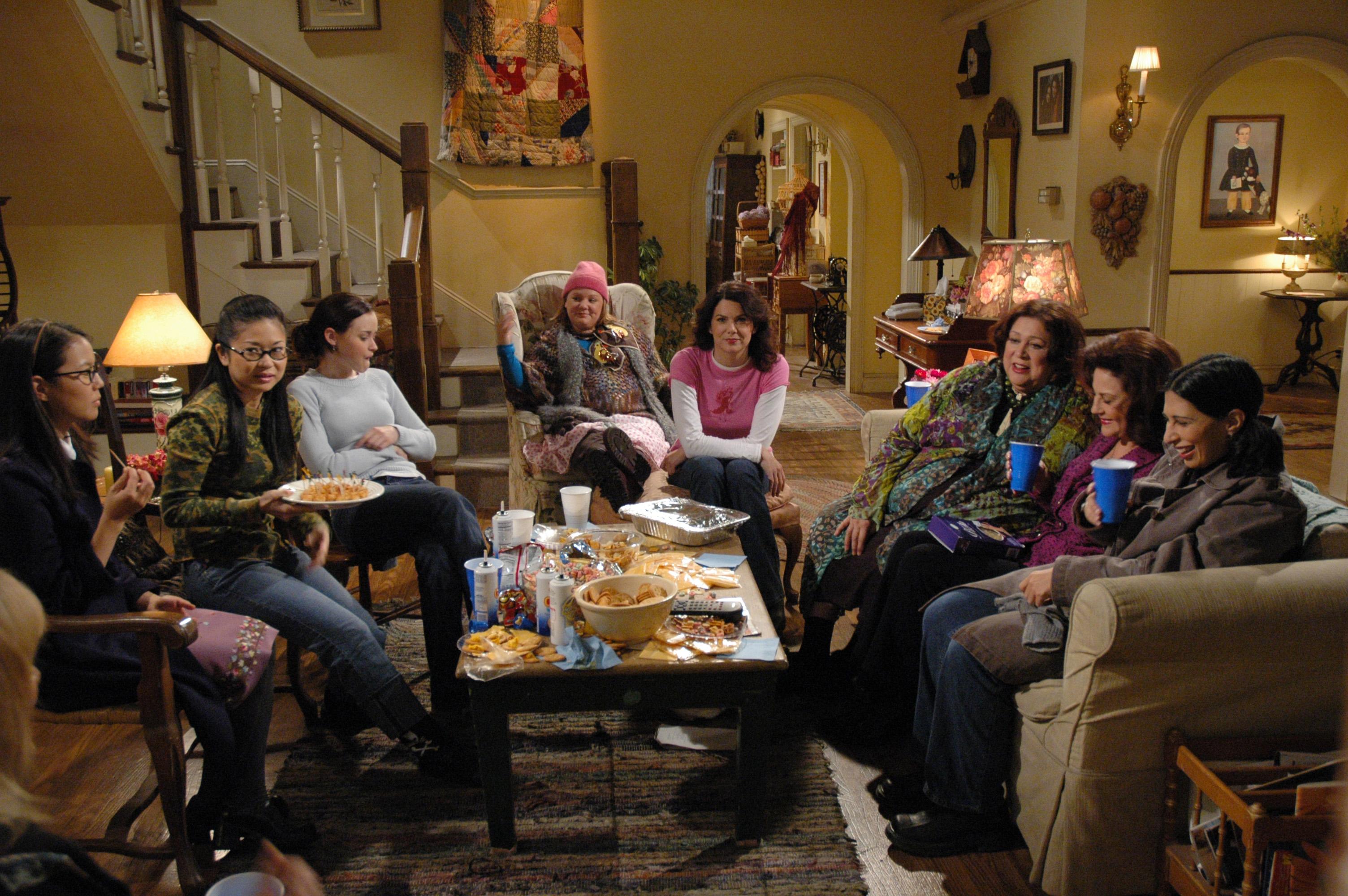 Full shot of (from left) Keiko Agena as Lane, Susane Lee as Kyon, Alexis Bledel as Rory, Melissa McCarthy as Sookie, Lauren Graham as Lorelai, Liz Torres as Miss Patty, Kelly Bishop as Emily, and Rose Abdoo as Gypsy on Gilmore Girls