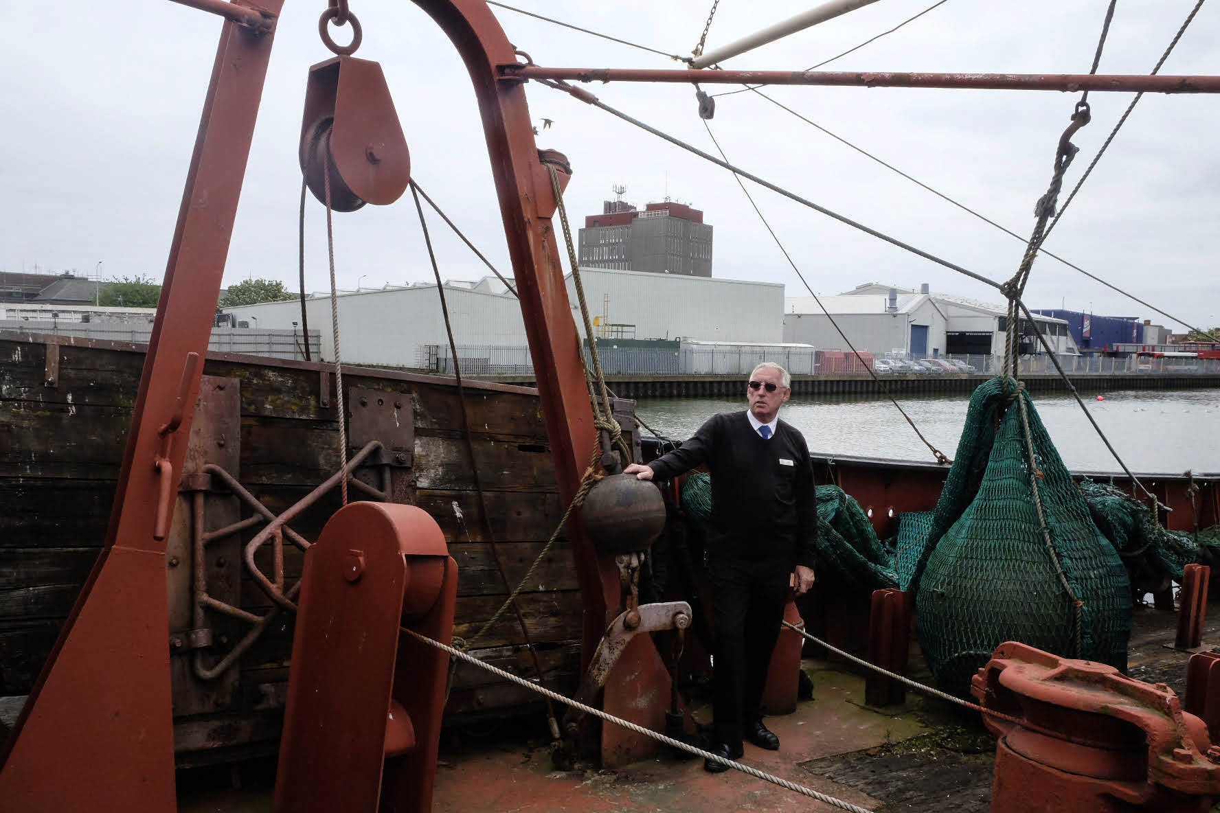 John Vincent conducts a tour on the Ross Tiger, now a part of the Grimsby Heritage Centre in the town of Grimsby, U.K., on May 28, 2015.