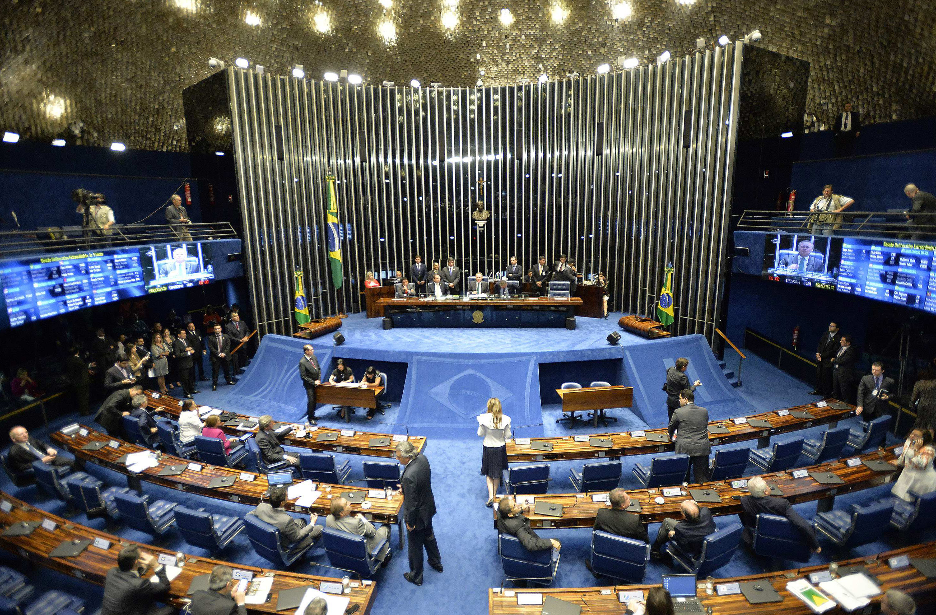A general view of the Brazilian Senate as it begins a session that will decide whether Brazilian President Dilma Rousseff will be subject to impeachment that could end her mandate, in Brasilia, Brazil, 11 May 2016.