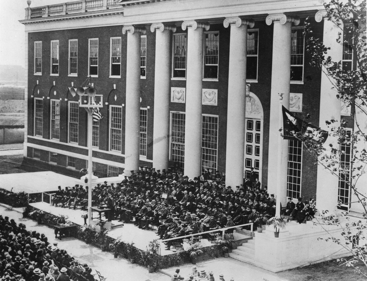 Students at a graduation ceremony at the Harvard Business School in 1938.