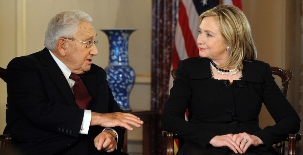 "US Secretary of State Hillary Clinton (R) and former US Secretary of State Henry Kissinger participate in  Conversations on Diplomacy, Moderated by Charlie Rose,"" at the Department of State in Washington, DC, on April 20, 2011."