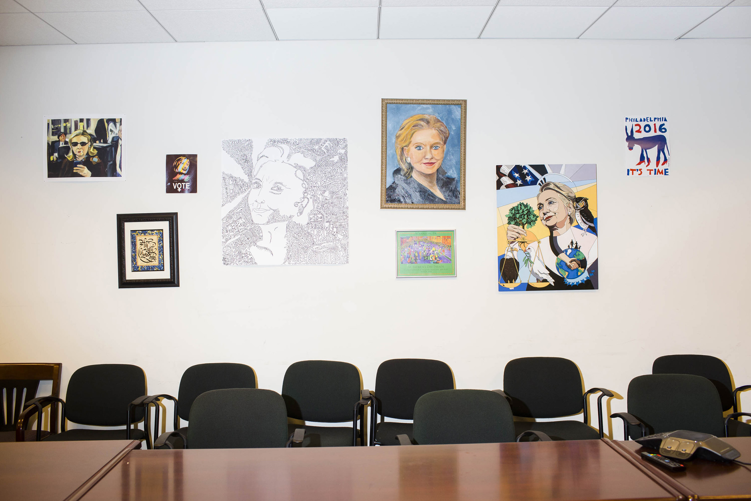 A conference room inside the campaign headquarters of Hillary Clinton on May 24, 2016, in Brooklyn, NY.