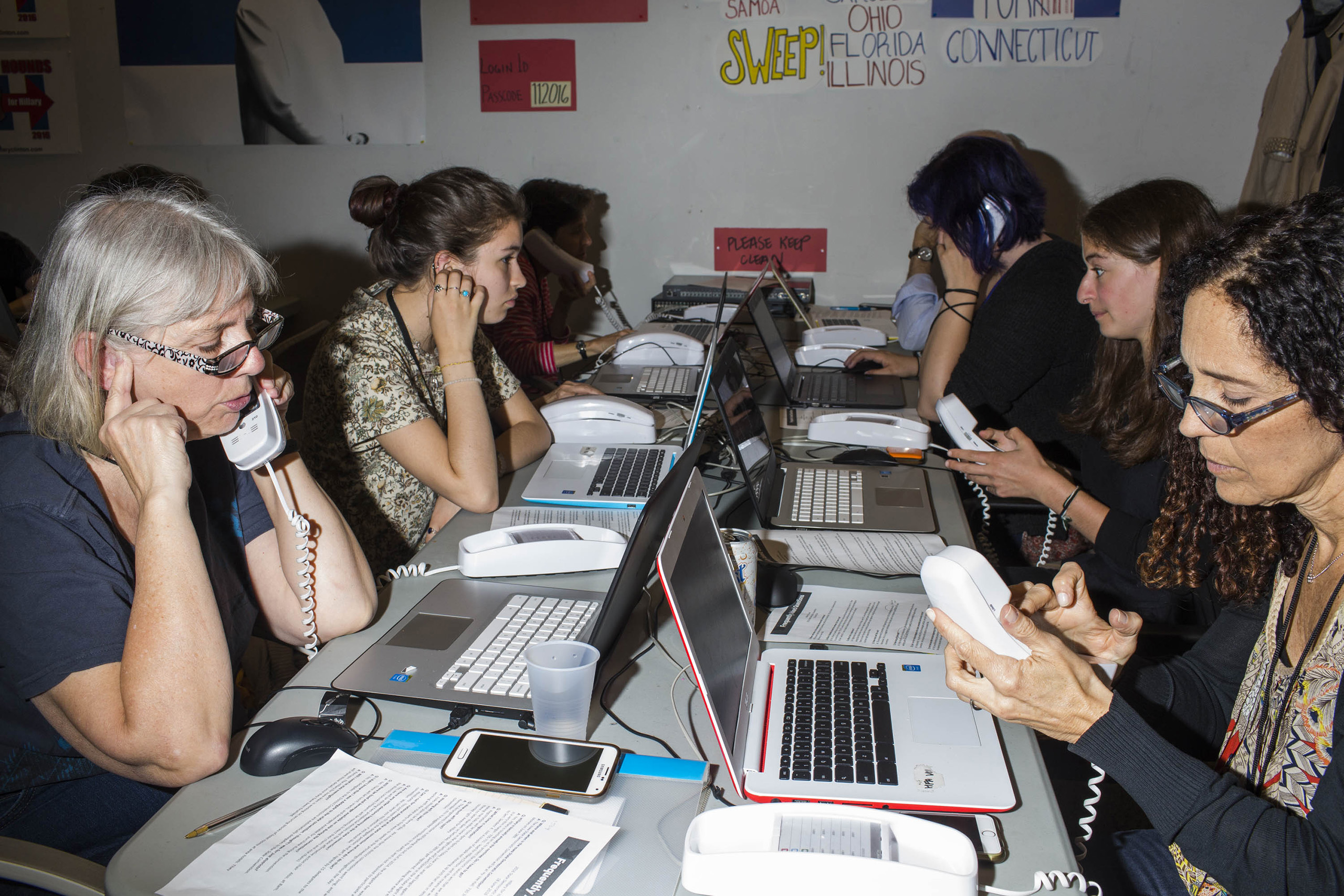 Workers at a call center inside the campaign headquarters of Hillary Clinton on May 24, 2016, in Brooklyn, NY.