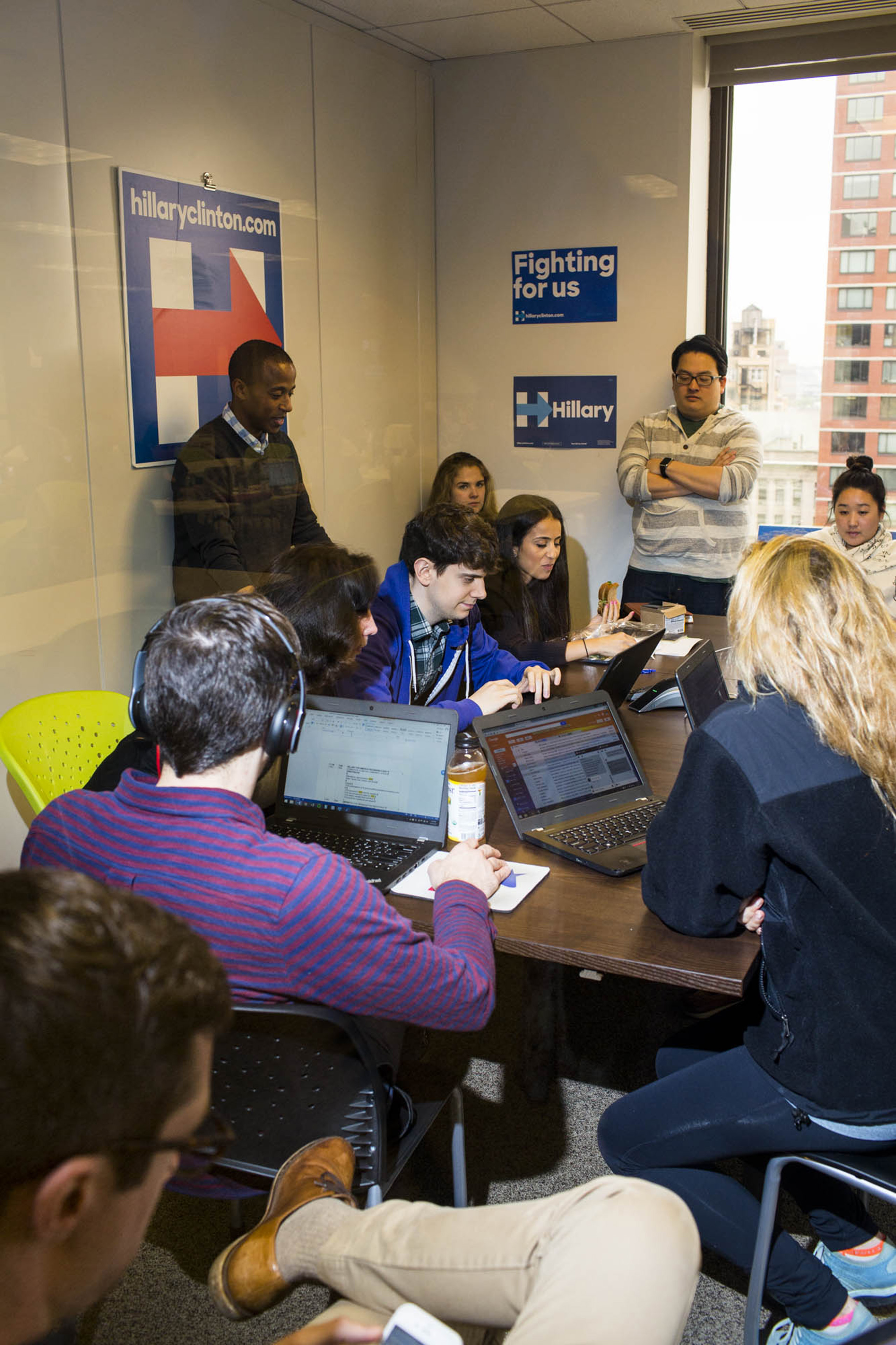 A meeting at the campaign headquarters of Hillary Clinton on May 24, 2016, in Brooklyn, NY.