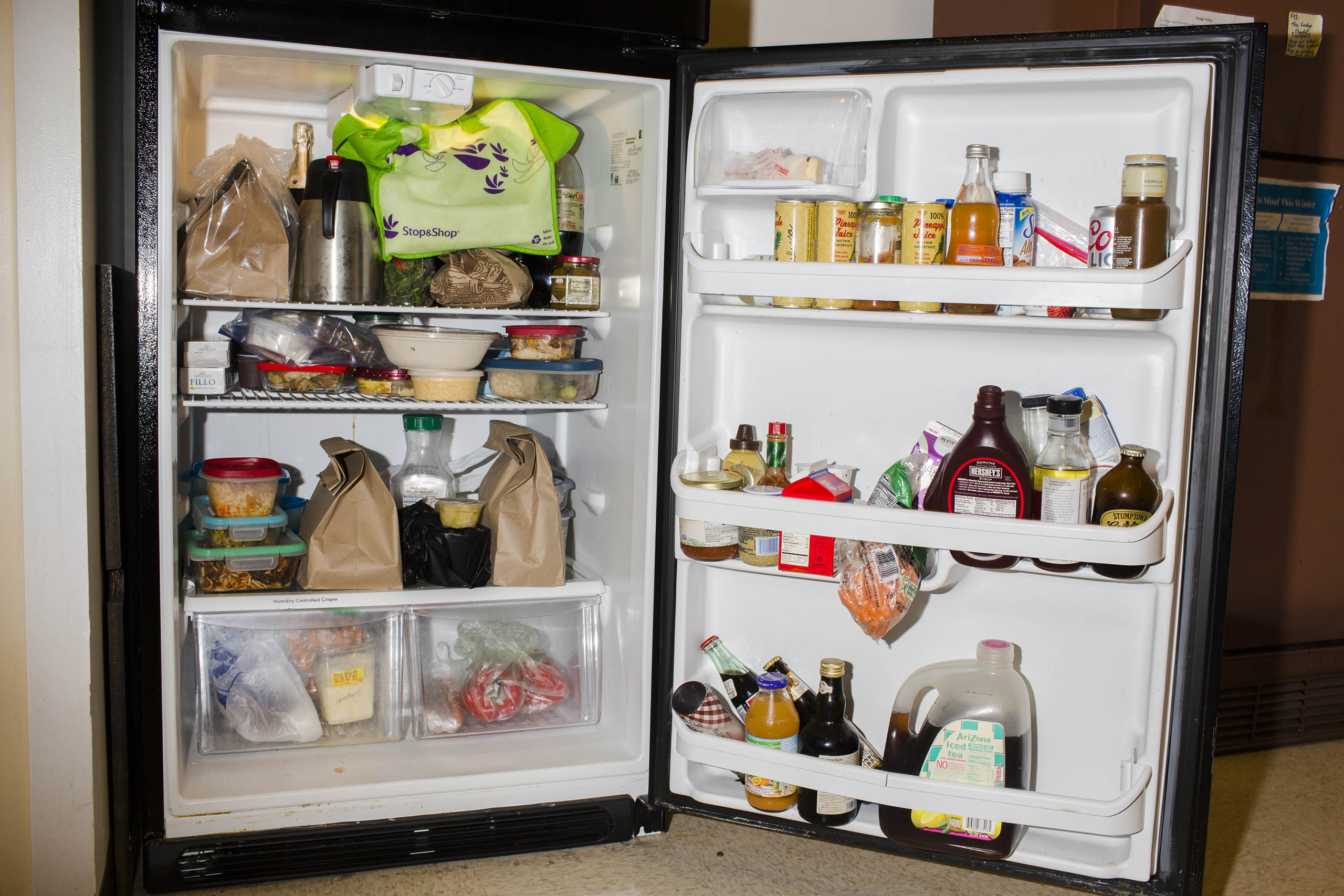 One of two staff refrigerators at the campaign headquarters of Hillary Clinton on May 24, 2016, in Brooklyn, NY.