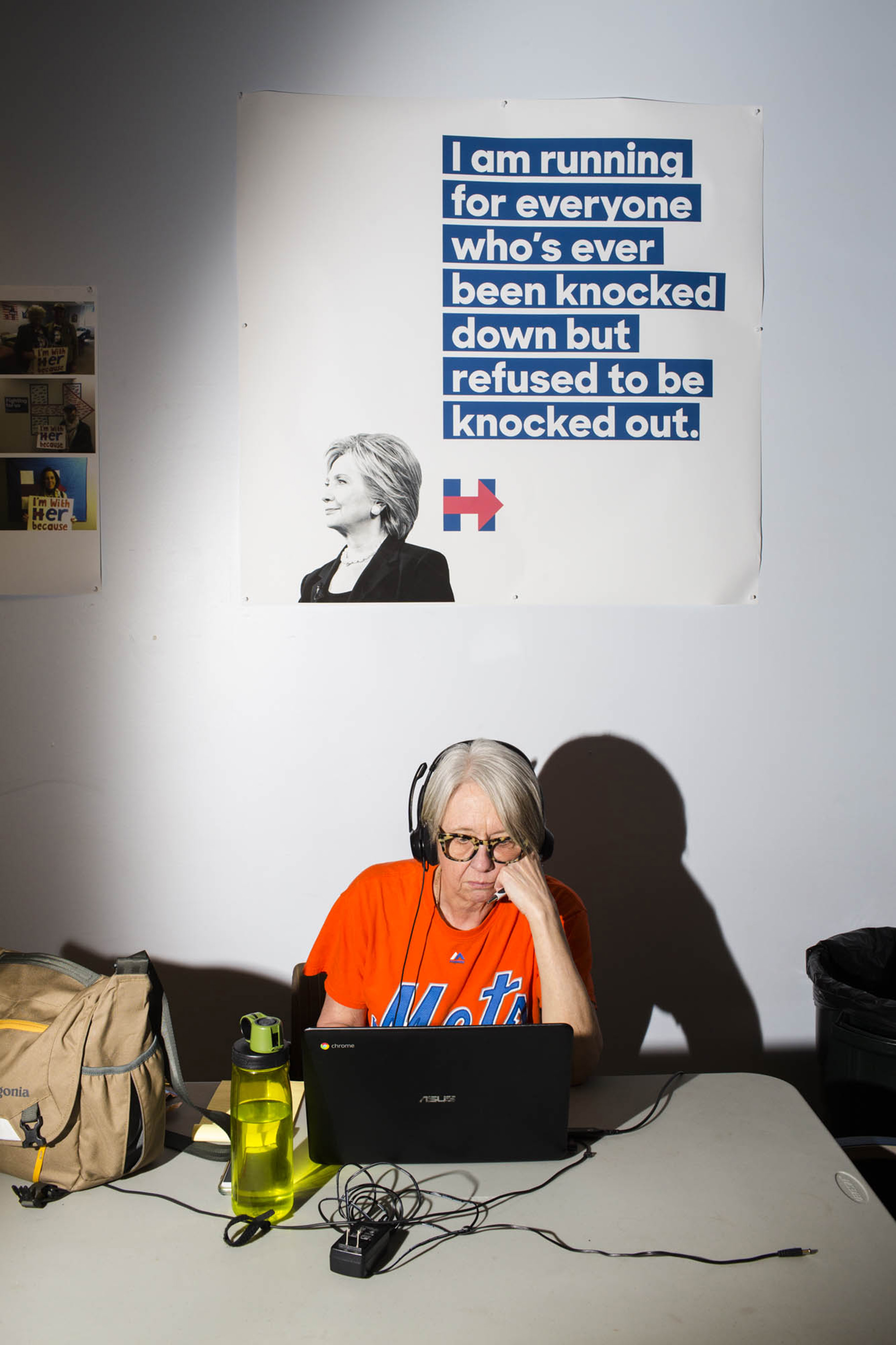 A worker at the campaign headquarters of Hillary Clinton on May 24, 2016, in Brooklyn, NY.
