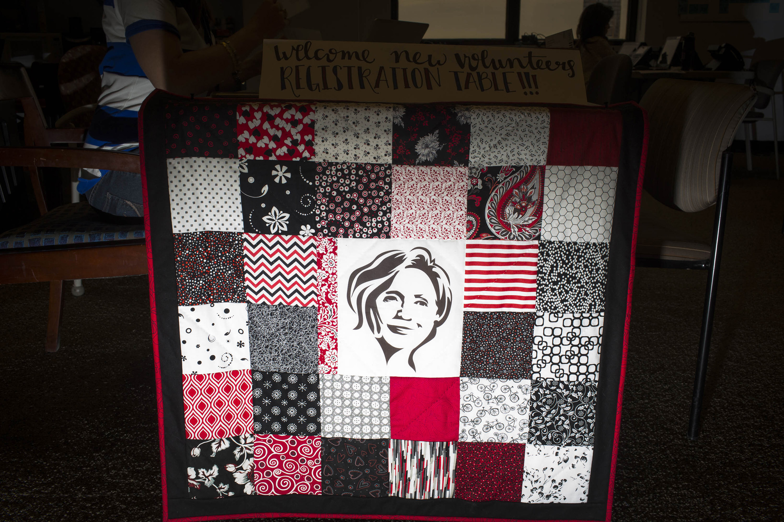 A quilt at the voter registration table inside the campaign headquarters of Hillary Clinton on May 24, 2016, in Brooklyn, NY.