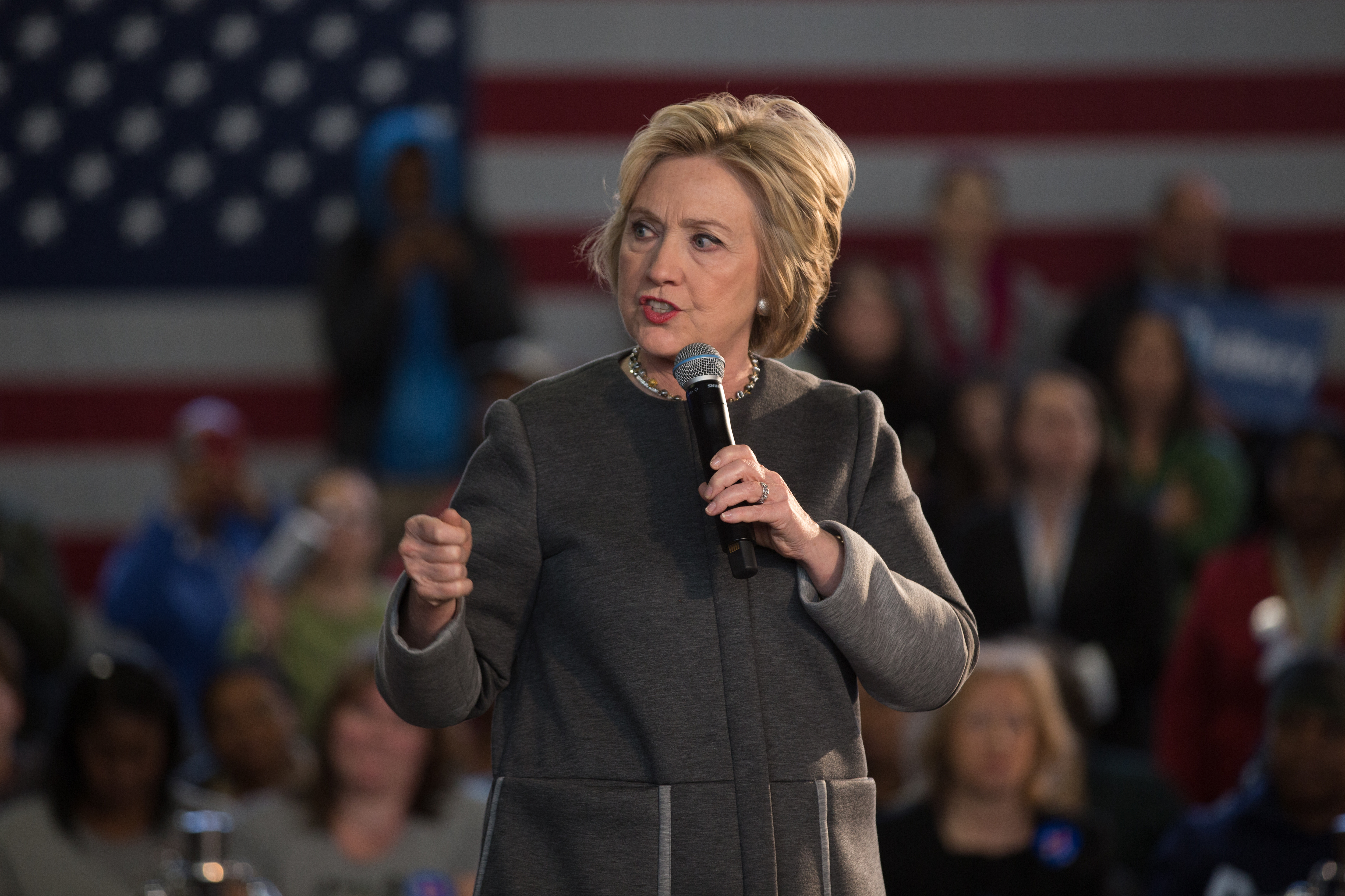 Hillary Clinton speaks at Hillary Town Hall with Congresswomen Yvette Clarke and First lady of New York City Chirlane McCray.