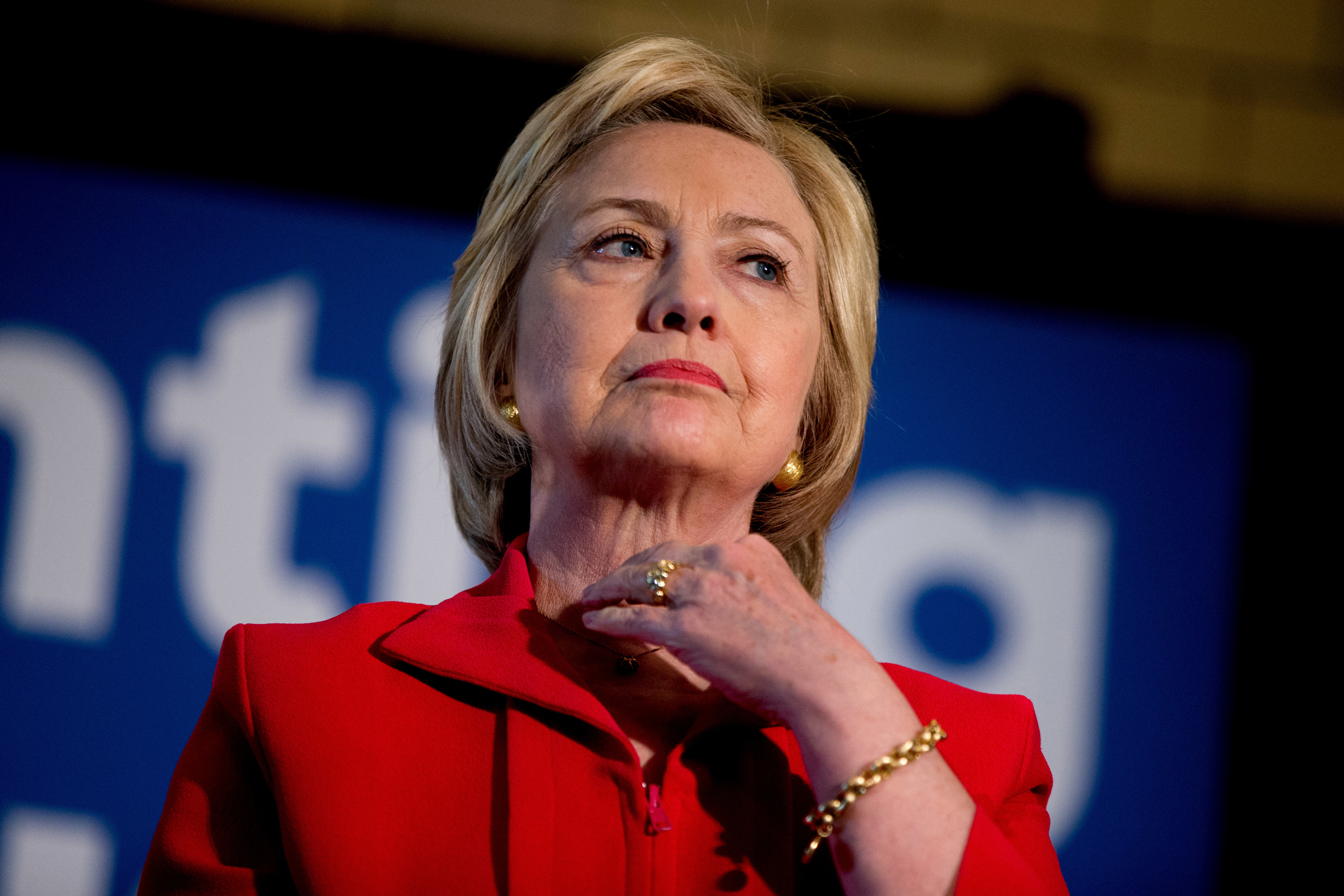 Democratic presidential candidate Hillary Clinton waits to speak at a get out the vote event at La Gala in Bowling Green, Ky., on May 16, 2016.