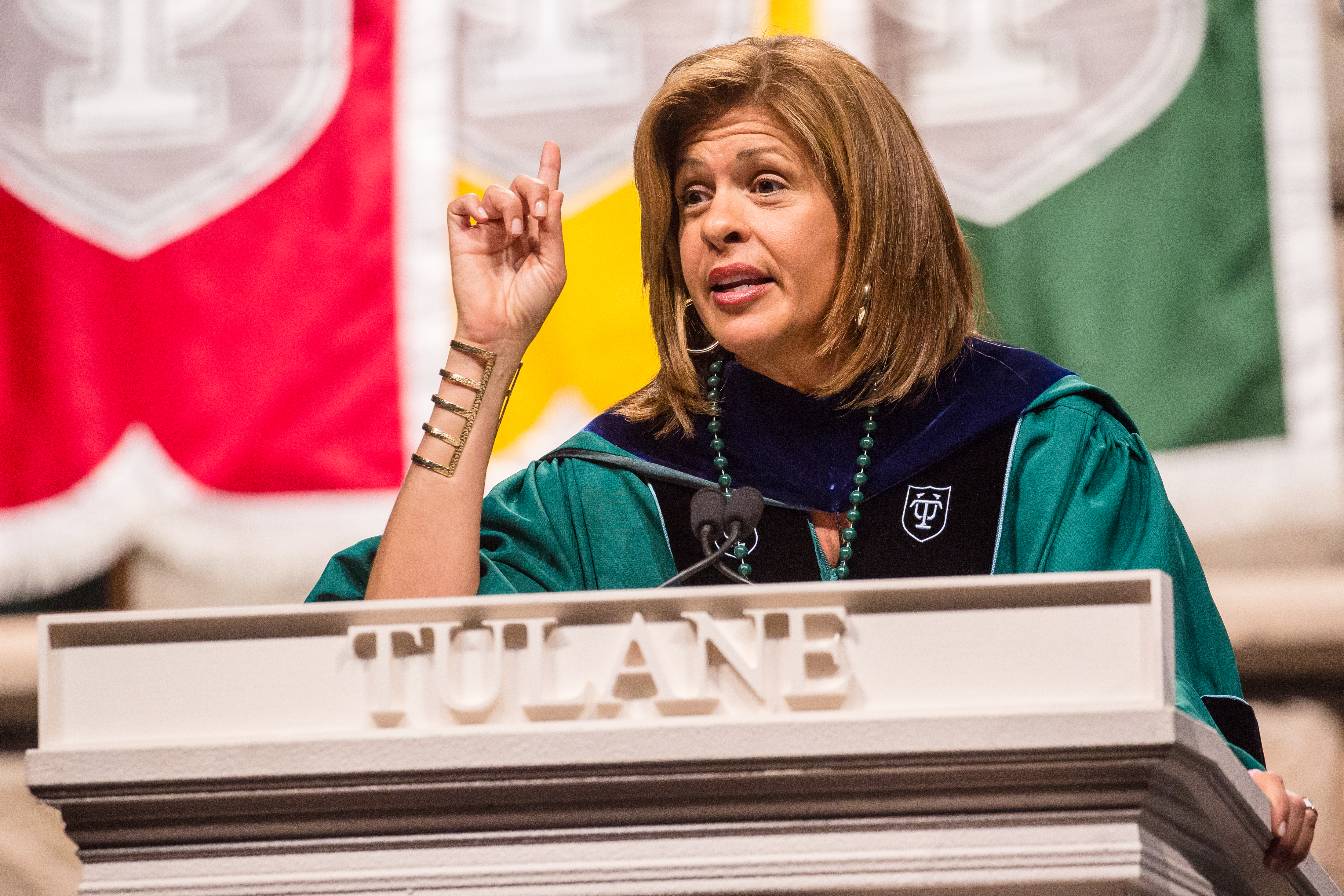 Hoda Kotb delivers Tulane University commencement address at The Mercedes-Benz Superdome on May 14, 2016 in New Orleans, Louisiana.