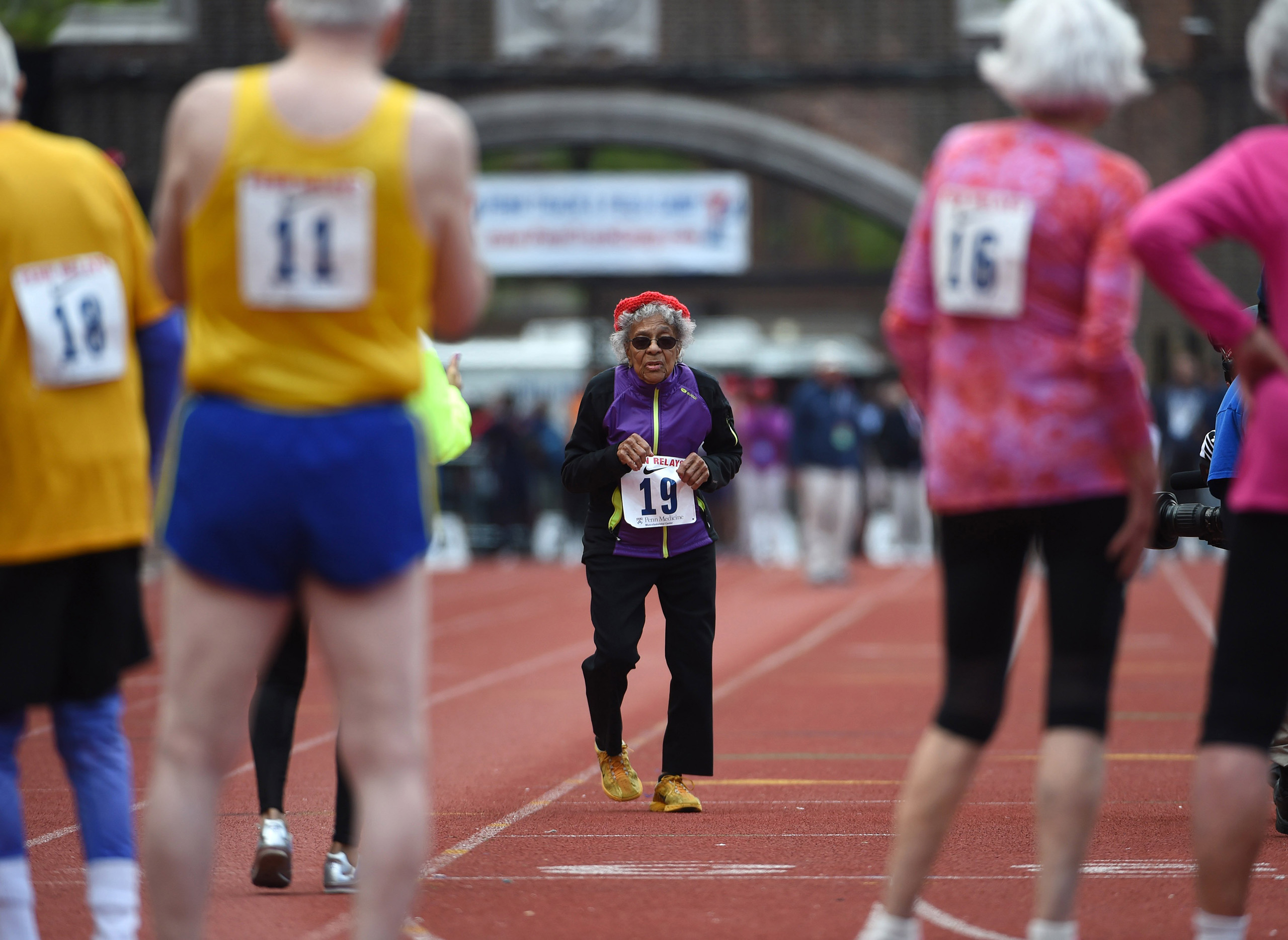 Ida Keeling (age 100) runs in the mixed masters age 80 and over 100m during the 122nd Penn Relays at Franklin Field in Philadelphia, PA, April 30, 2016.