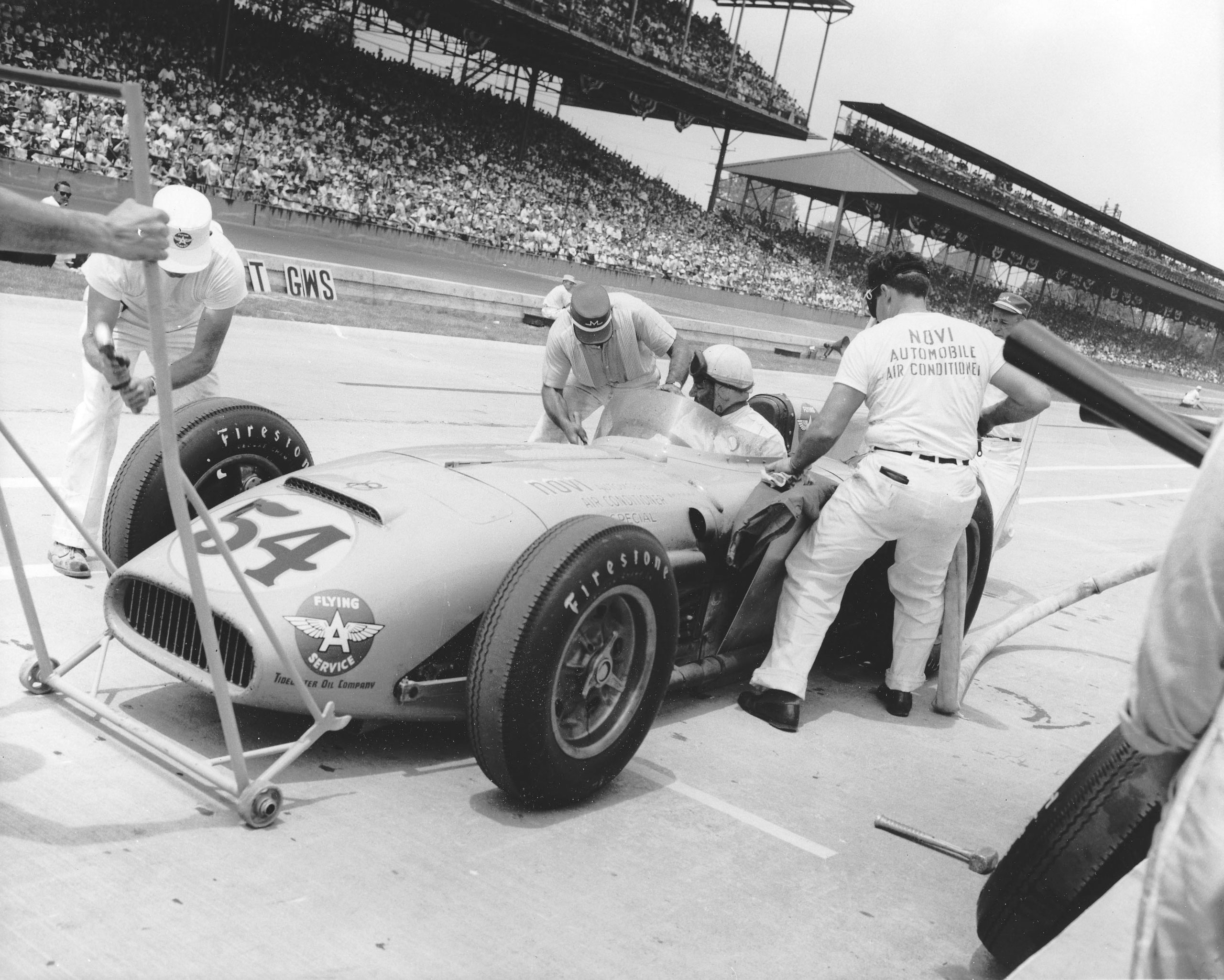 Duke Nalon makes a pit stop during the running of the Indianapolis 500 Indy Car race at Indianapolis Motor Speedway on May 30, 1948. Driving a 1947 Kurtis/Offenhauser owned by Lou Welch, Nalon finished third in the event.