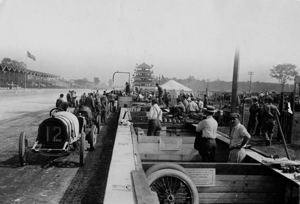 A view of the pits and original Pagoda on the front straightaway during the Indianapolis 500 on May 30, 1911, at the Indianapolis Motor Speedway