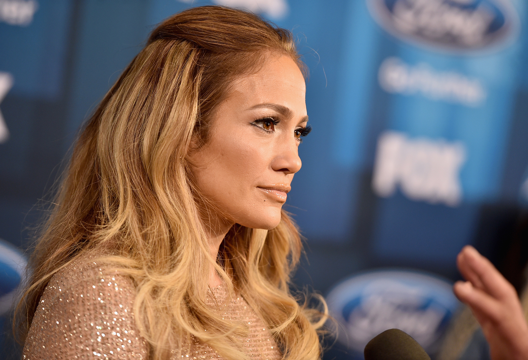 HOLLYWOOD, CALIFORNIA - APRIL 07:   Jennifer Lopez attends FOX's  American Idol  Finale For The Farewell Season at Dolby Theatre. (Photo by Alberto E. Rodriguez/Getty Images)