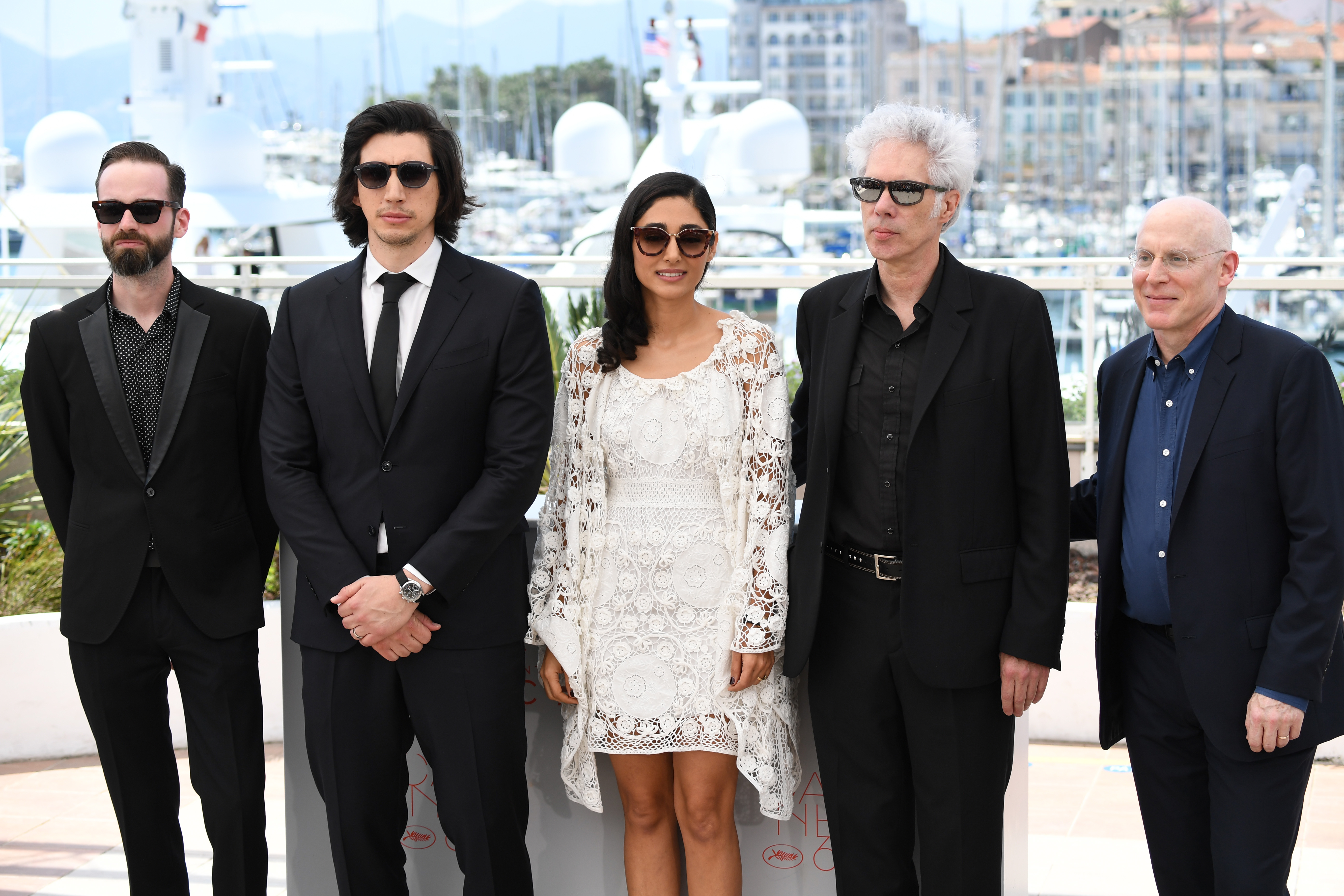 From left: Carter Logan, Adam Driver, Golshifteh Farahani, Jim Jarmusch, and Joshua Astrachan during the 69th annual Cannes Film Festival on May 16, 2016 in Cannes, France.