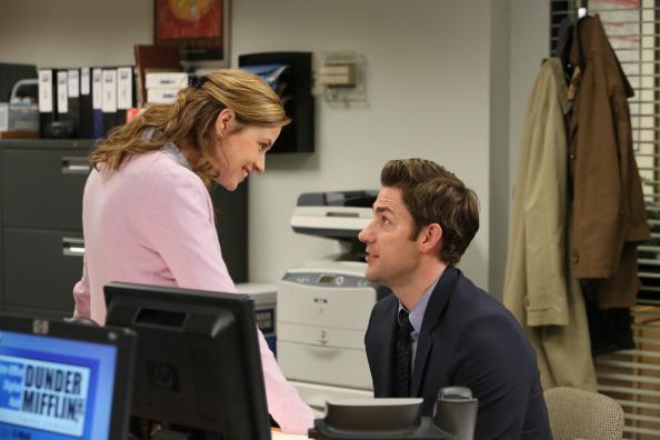THE OFFICE -- 'Livin' The Dream' Episode 921 -- Pictured: (l-r) Jenna Fischer as Pam Beesly Halpert, John Krasinski as Jim Halpert