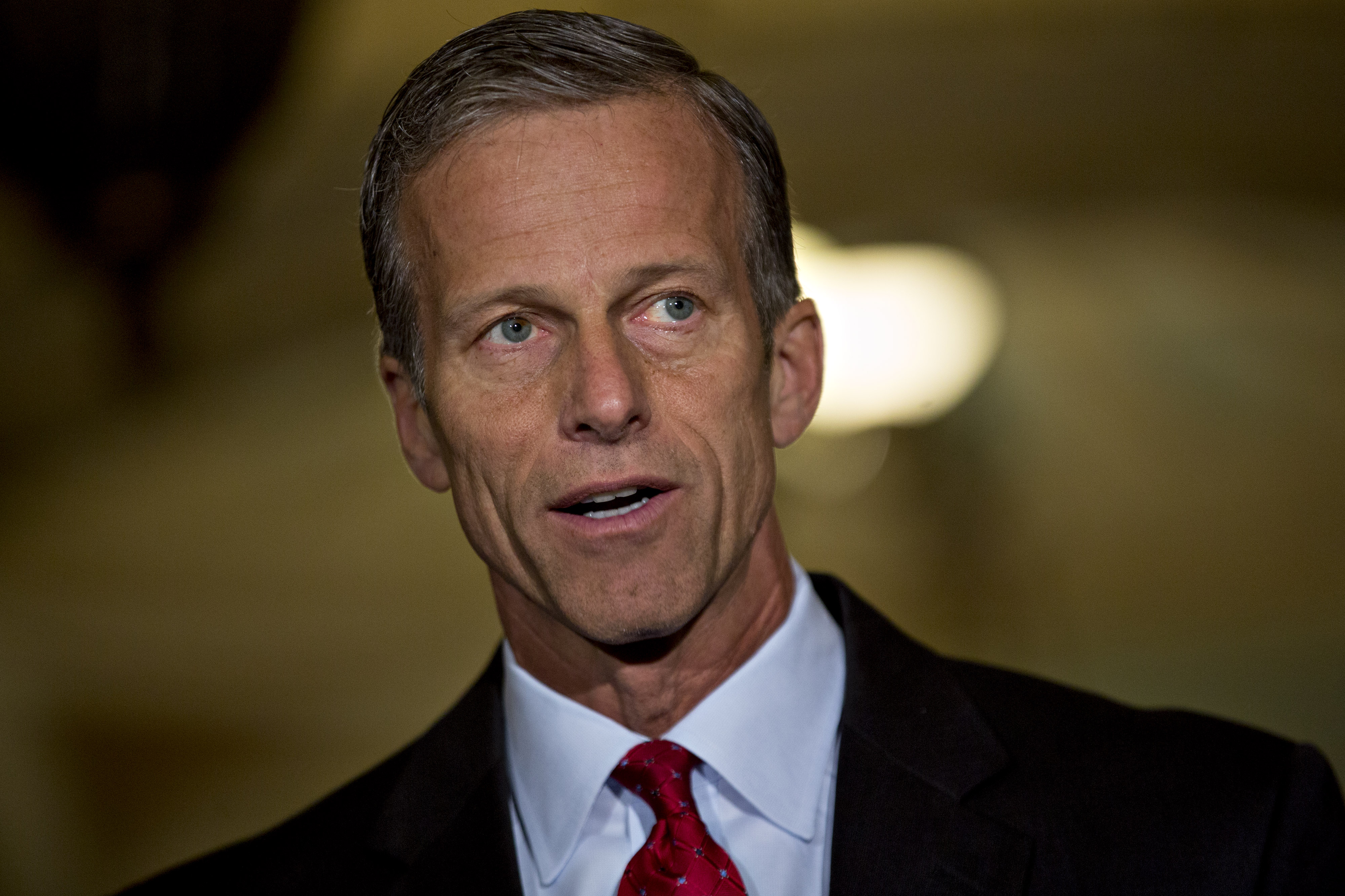 Sen. John Thune, a Republican from South Dakota, speaks to members of the media after a Senate luncheon meeting at the U.S. Capitol in Washington, D.C., on May 10.