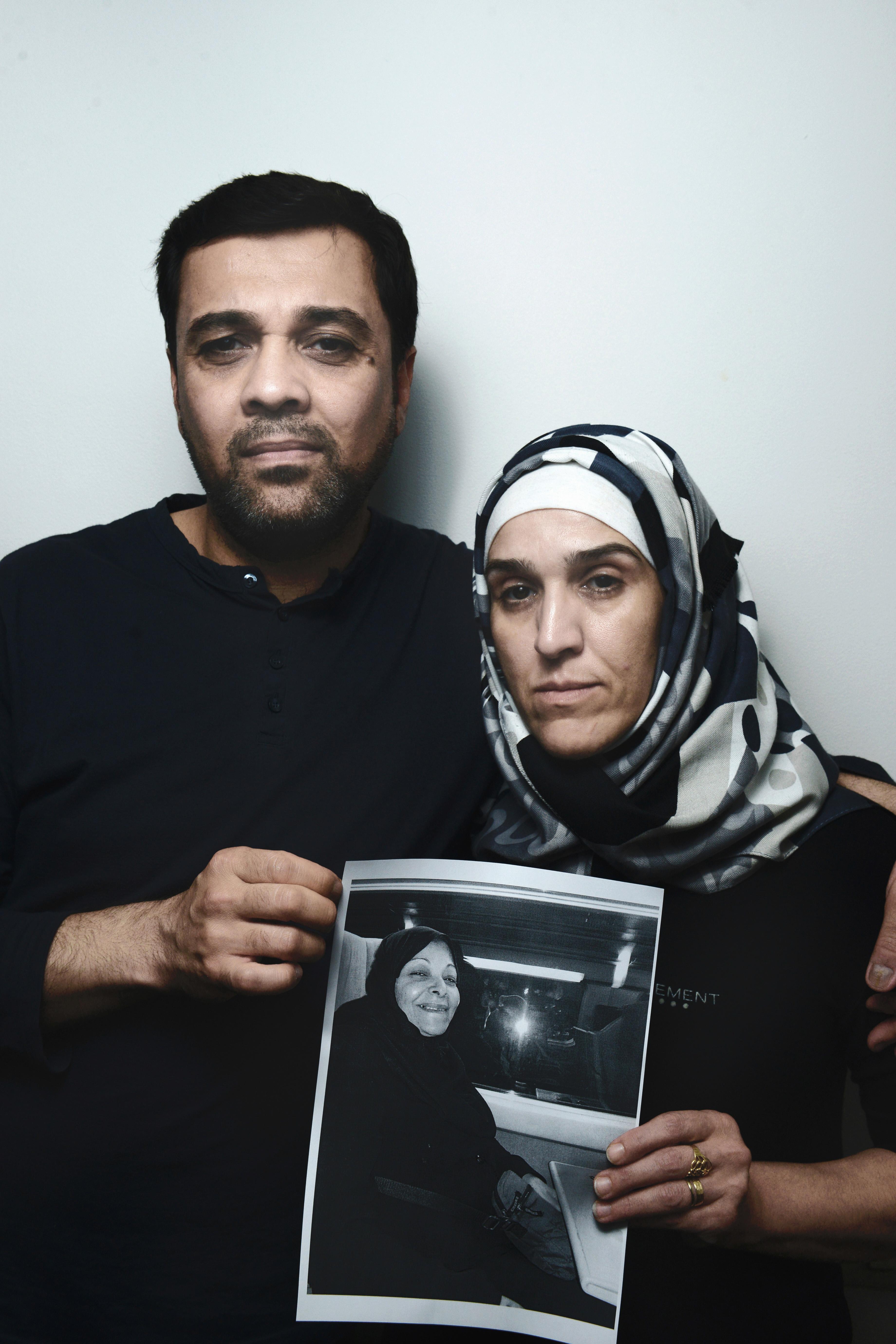 Sarmad Haqi and Amara Cellali, the son and daughter-in-law of passenger Najlah Al-Salihi