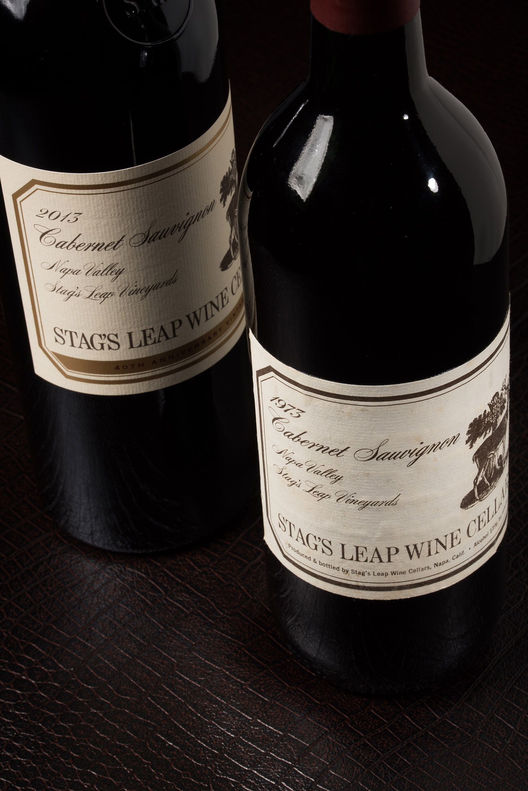 2013 S.L.V. Cabernet Sauvignon in the 40th Anniversary commemorative bottling – next to the 1973 S.L.V. that won the Paris Tasting.