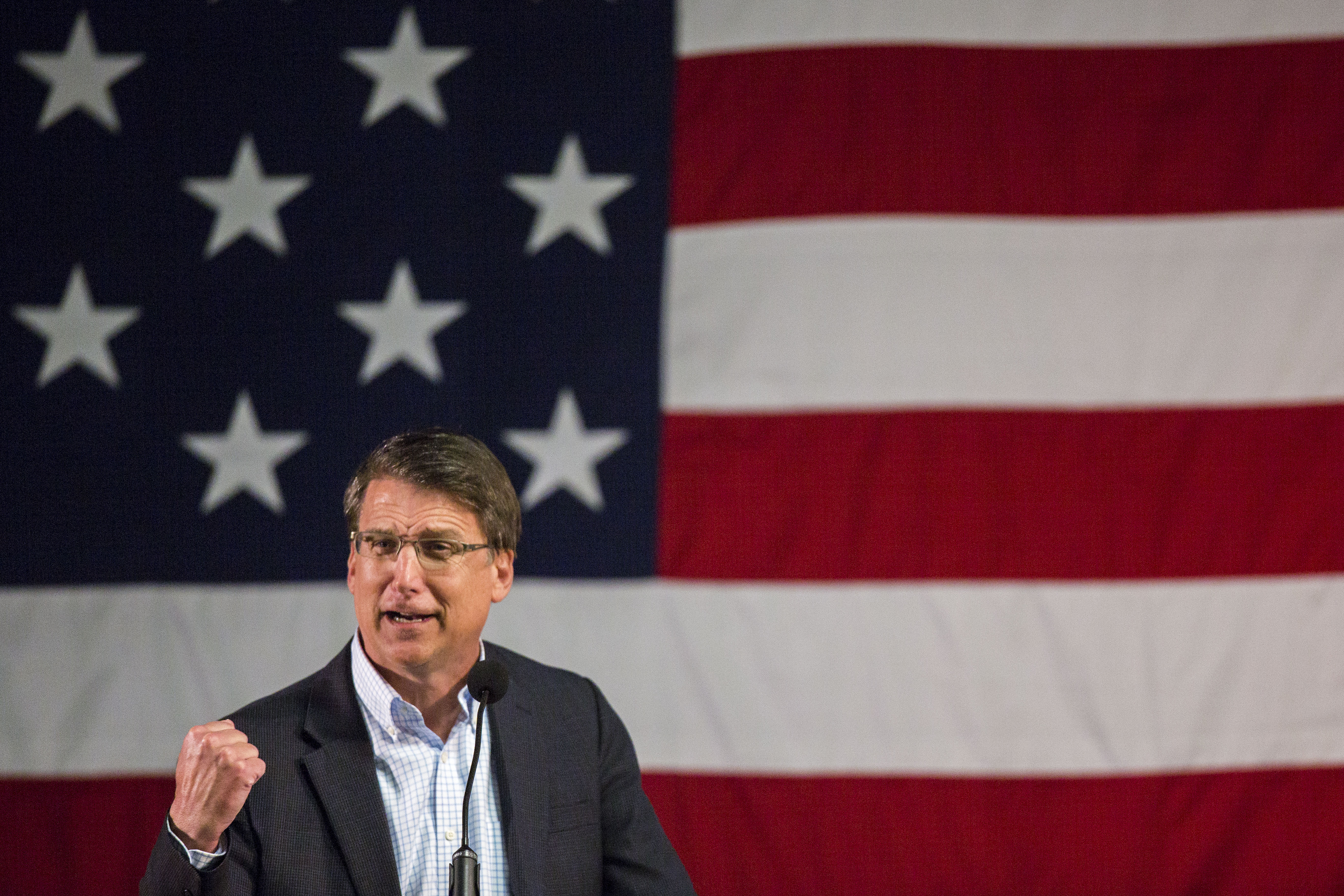 North Carolina Gov. Pat McCrory speaks at the Wake County Republican Party 2016 County Convention at the N.C. State Fairgrounds, in Raleigh, N.C. on March 8, 2016.