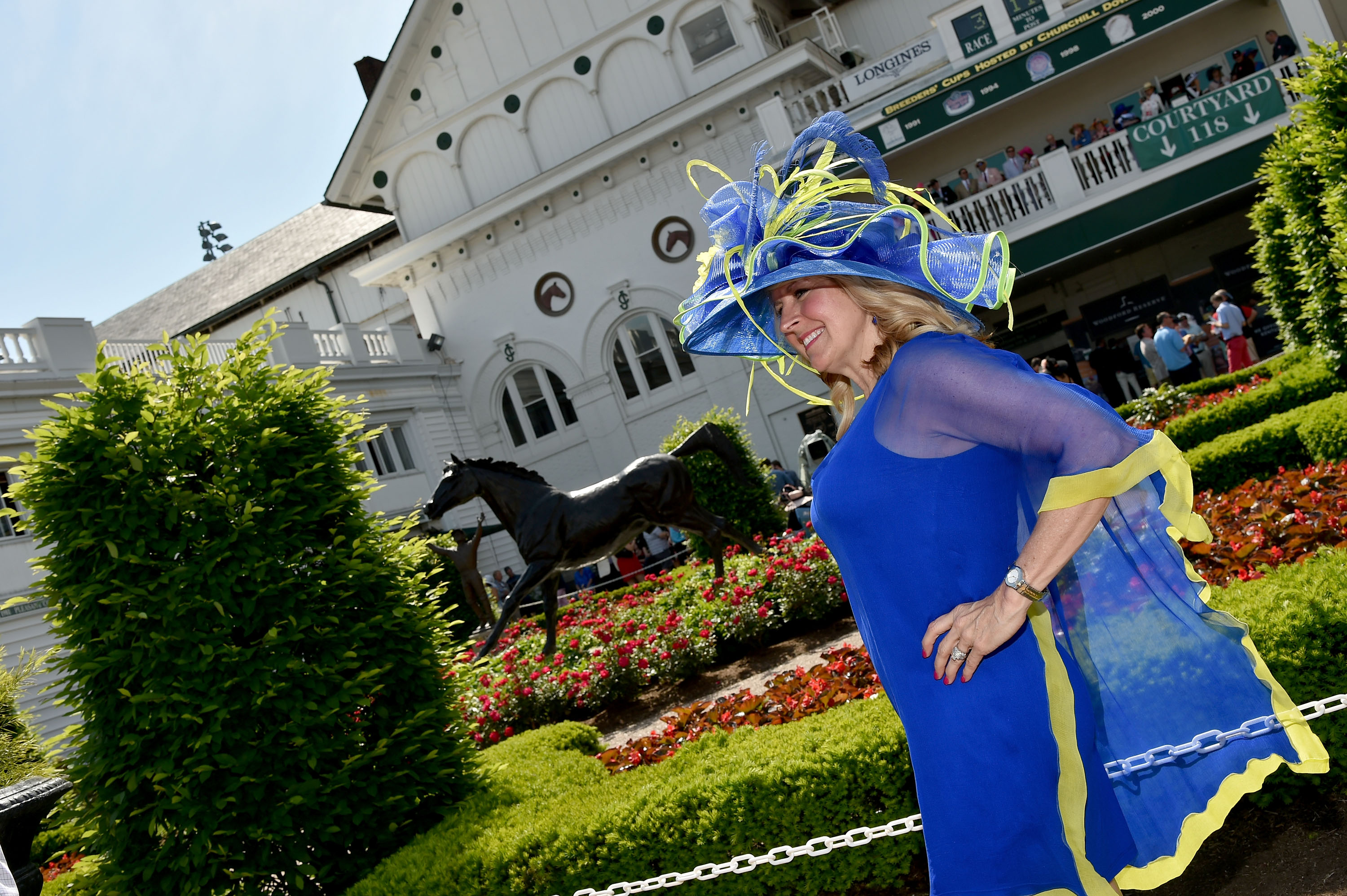 Woman with a hat during the 142nd running of the Kentucky Oaks horse race at Churchill Downs on May 7, 2016, in Louisville, Ky.