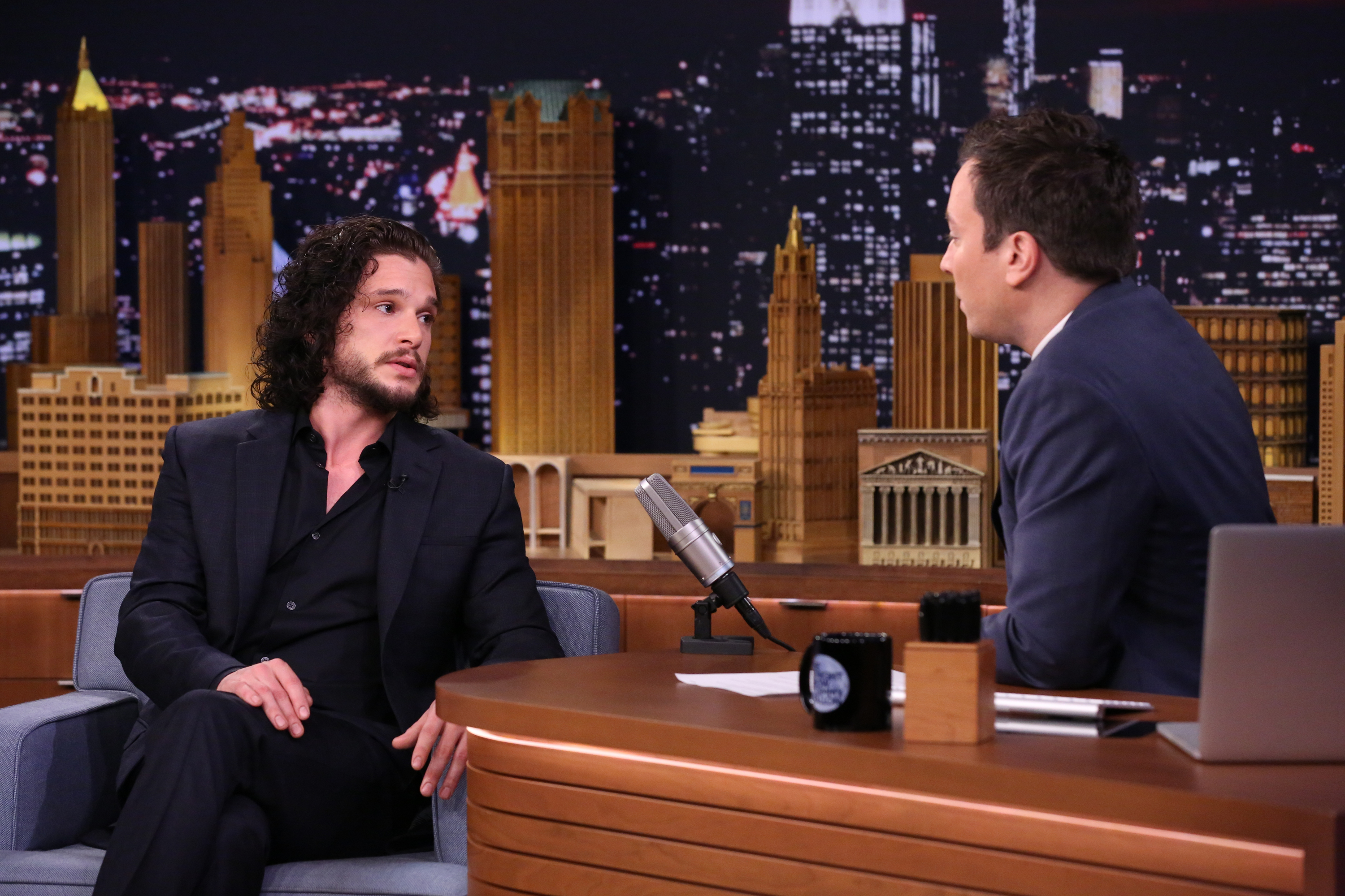 Actor Kit Harington during an interview with Jimmy Fallon on May 13.