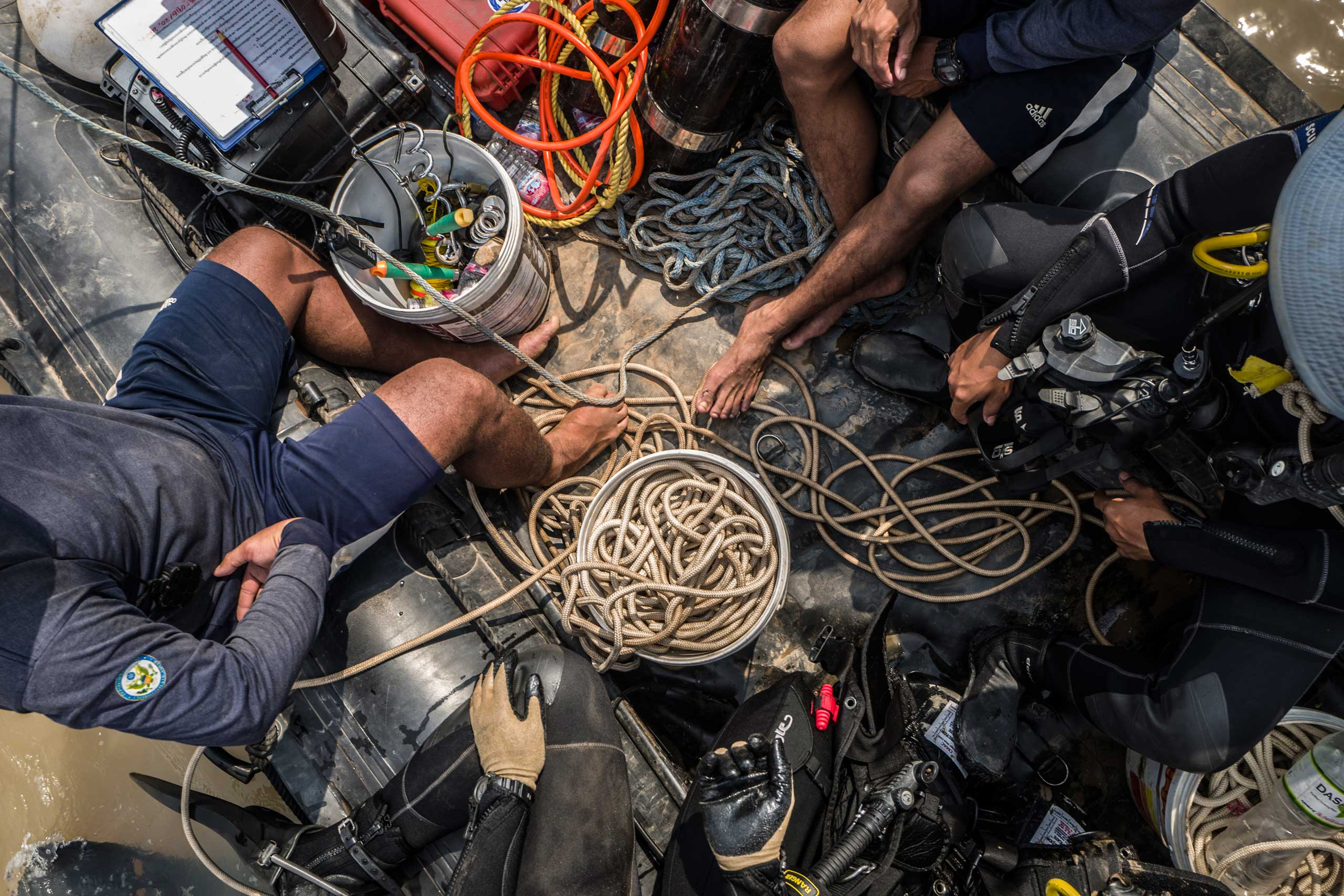 Inside of the divers' boat. The team carry all the equipment they need between two boats while on a mission in March 2016.