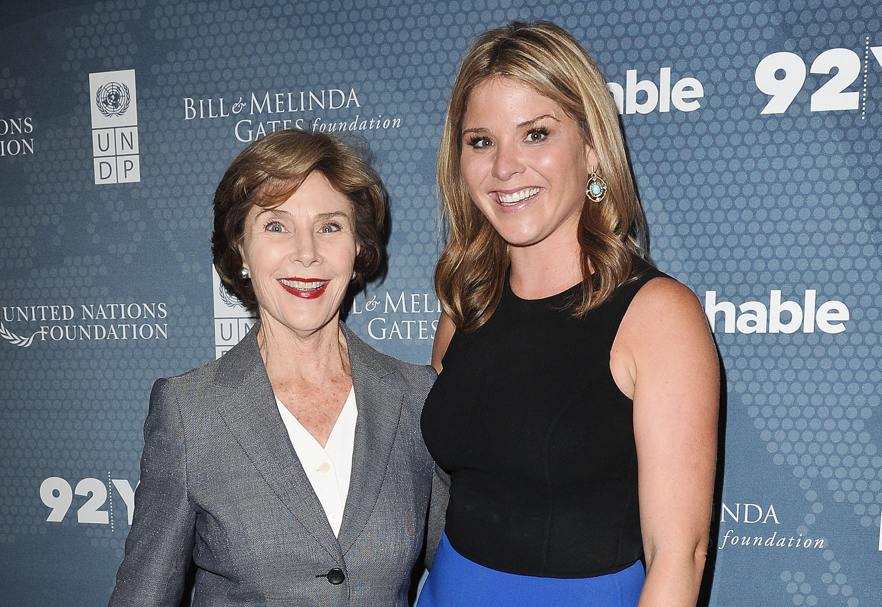 Laura Bush and Jenna Bush Hager attend the 2014 Social Good Summit at 92Y on September 22, 2014 in New York City.