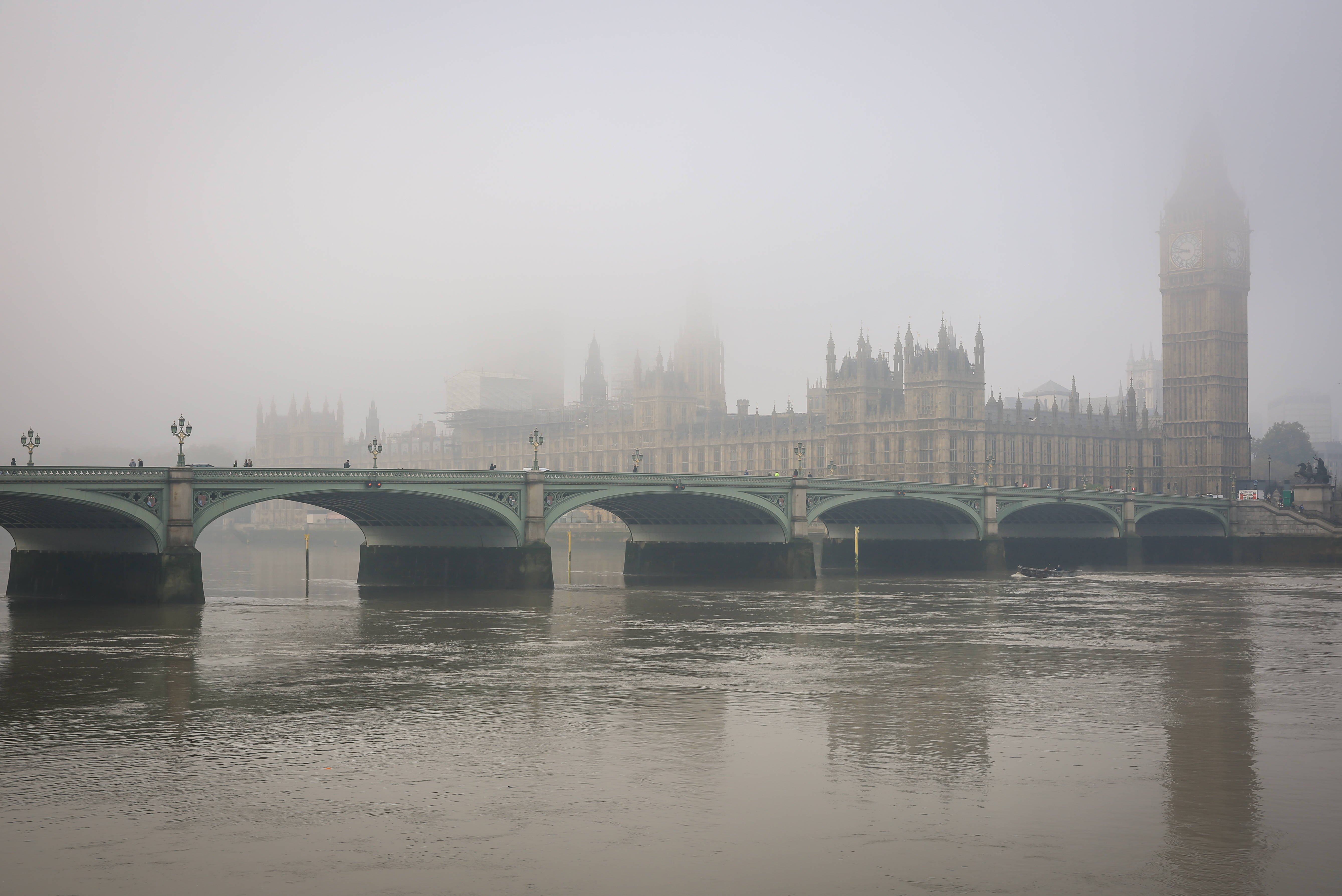 Big Ben and House of Parliament in London Fog