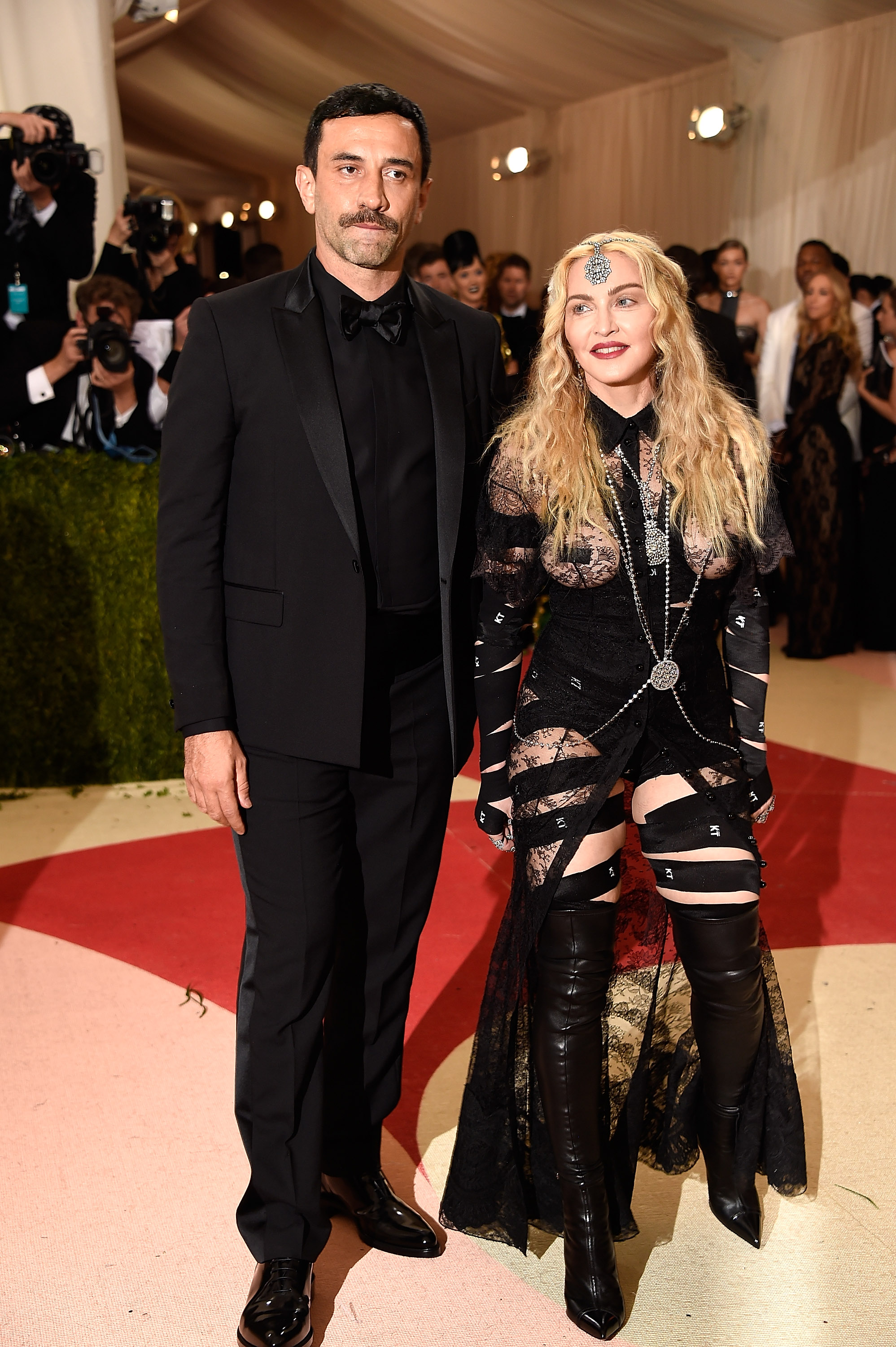Riccardo Tisci and Madonna attend  Manus x Machina: Fashion In An Age Of Technology  Costume Institute Gala at Metropolitan Museum of Art on May 2, 2016 in New York City.