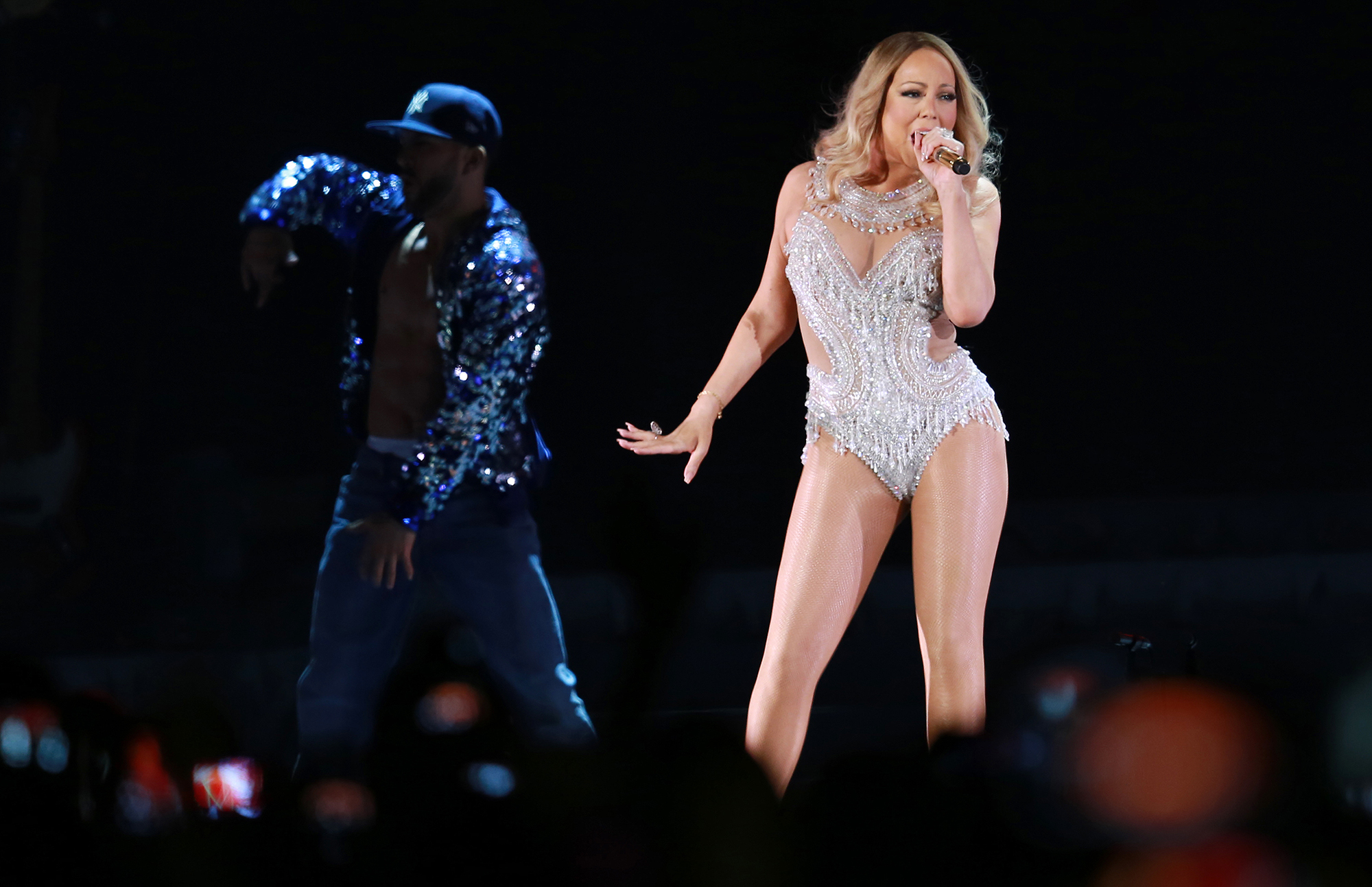 Mariah Carey performs at the Cape Town stadium on April 26, 2016 in Cape Town, South Africa.