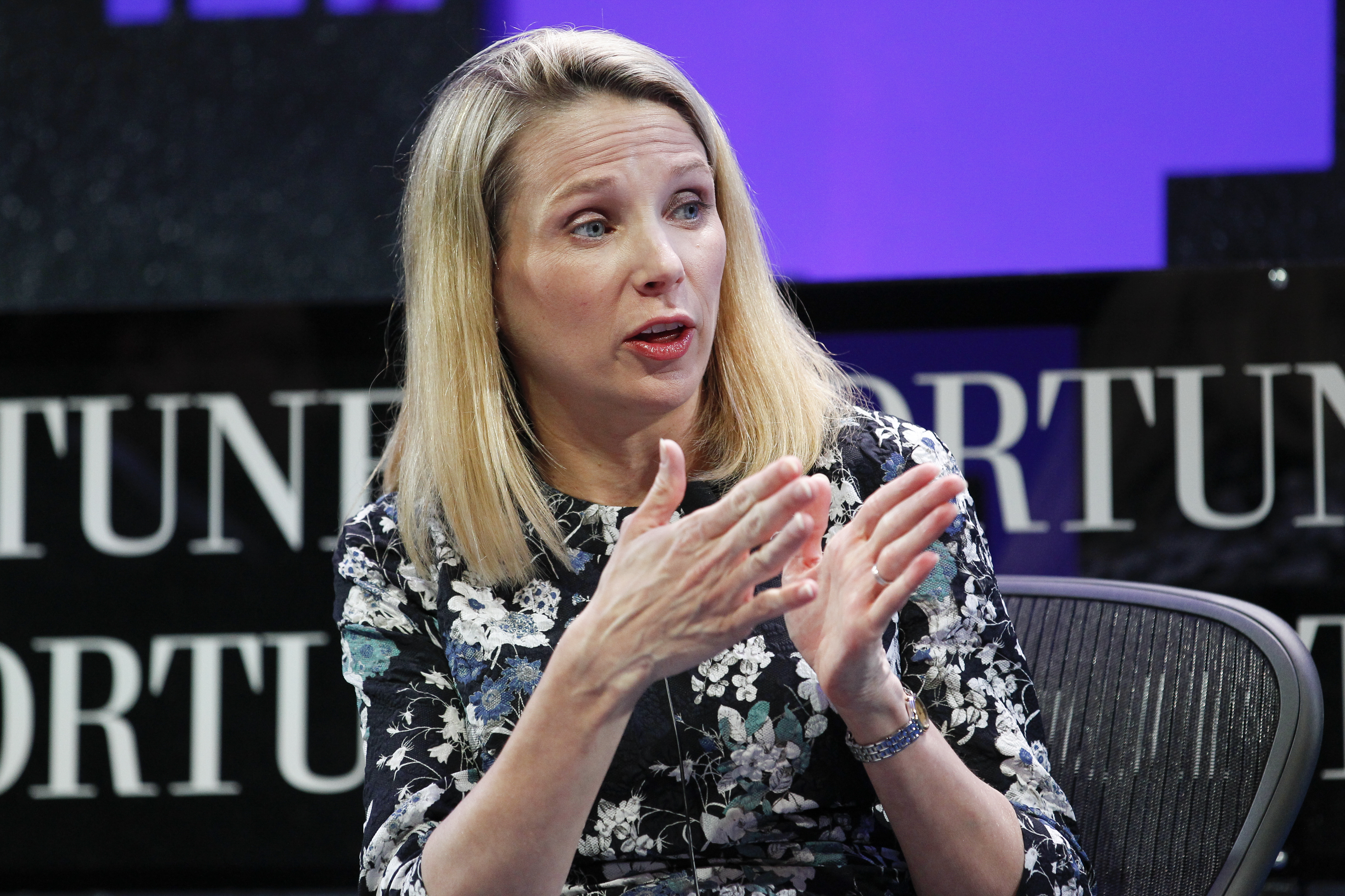 Marissa Mayer speaks during the Fortune Global Forum - Day 2 at the Fairmont Hotel on November 3, 2015 in San Francisco, California.