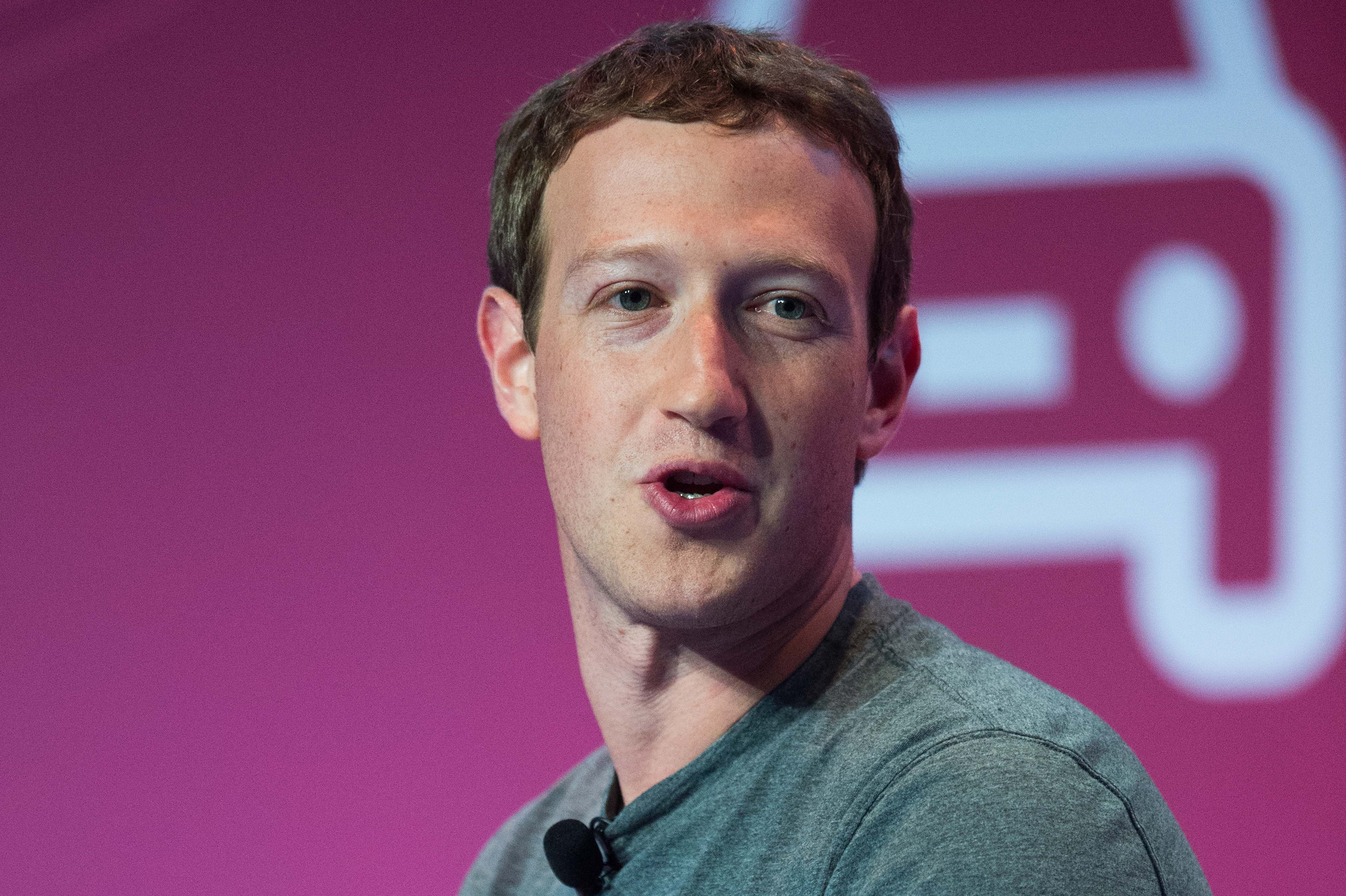 Founder and CEO of Facebook Mark Zuckerberg delivers his keynote conference on the opening day of the World Mobile Congress on Feb. 22 in Barcelona, Spain.