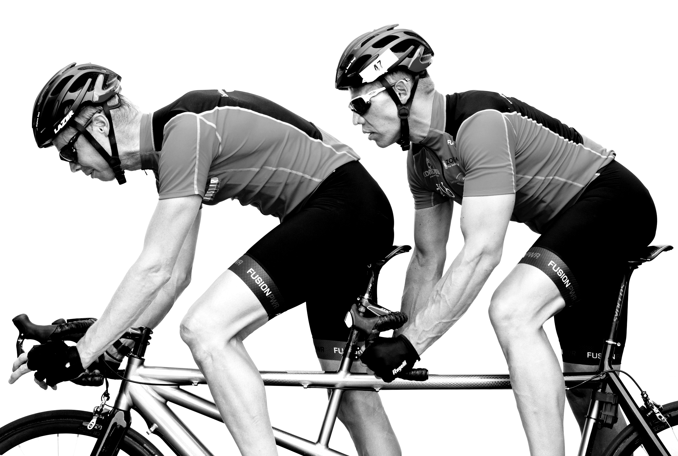 Cor Van Leeuwen (front) and Daniel Knegt (back), Netherlands, competed in swimming, cycling and track