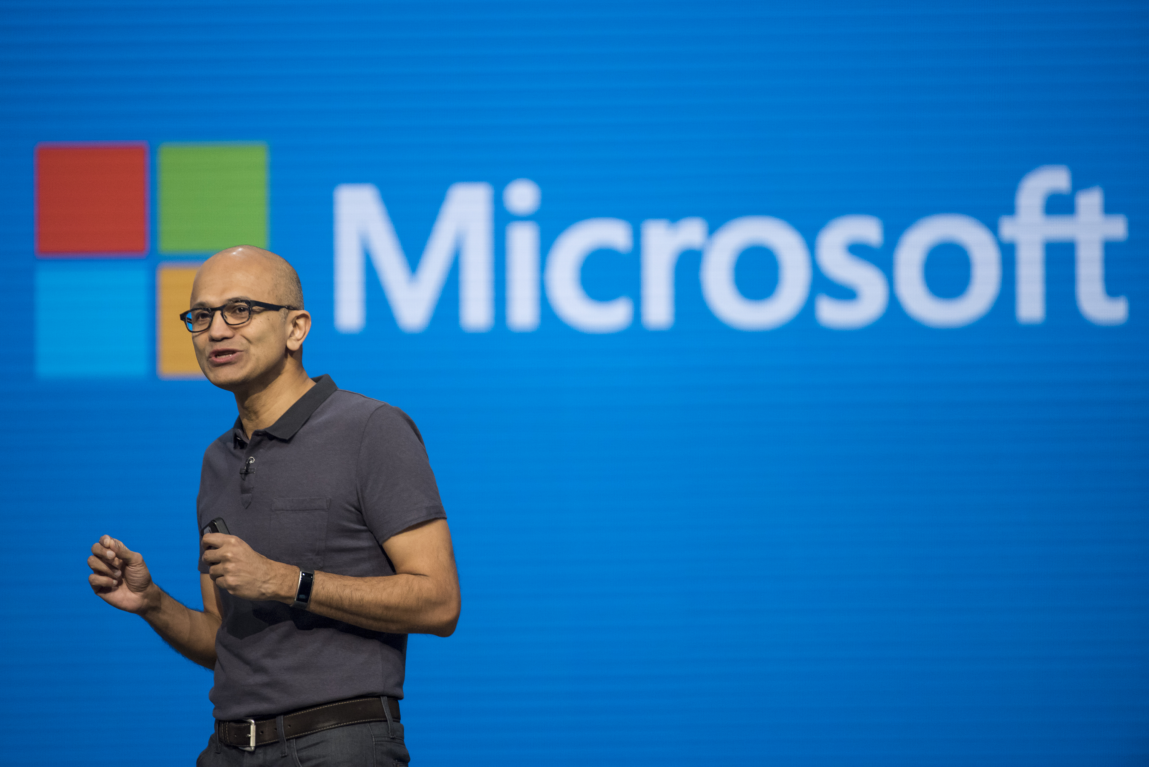 Satya Nadella, chief executive officer of Microsoft Corp., speaks during a keynote session at the Microsoft Developers Build Conference in San Francisco, California, U.S., on Wednesday, March 30, 2016.