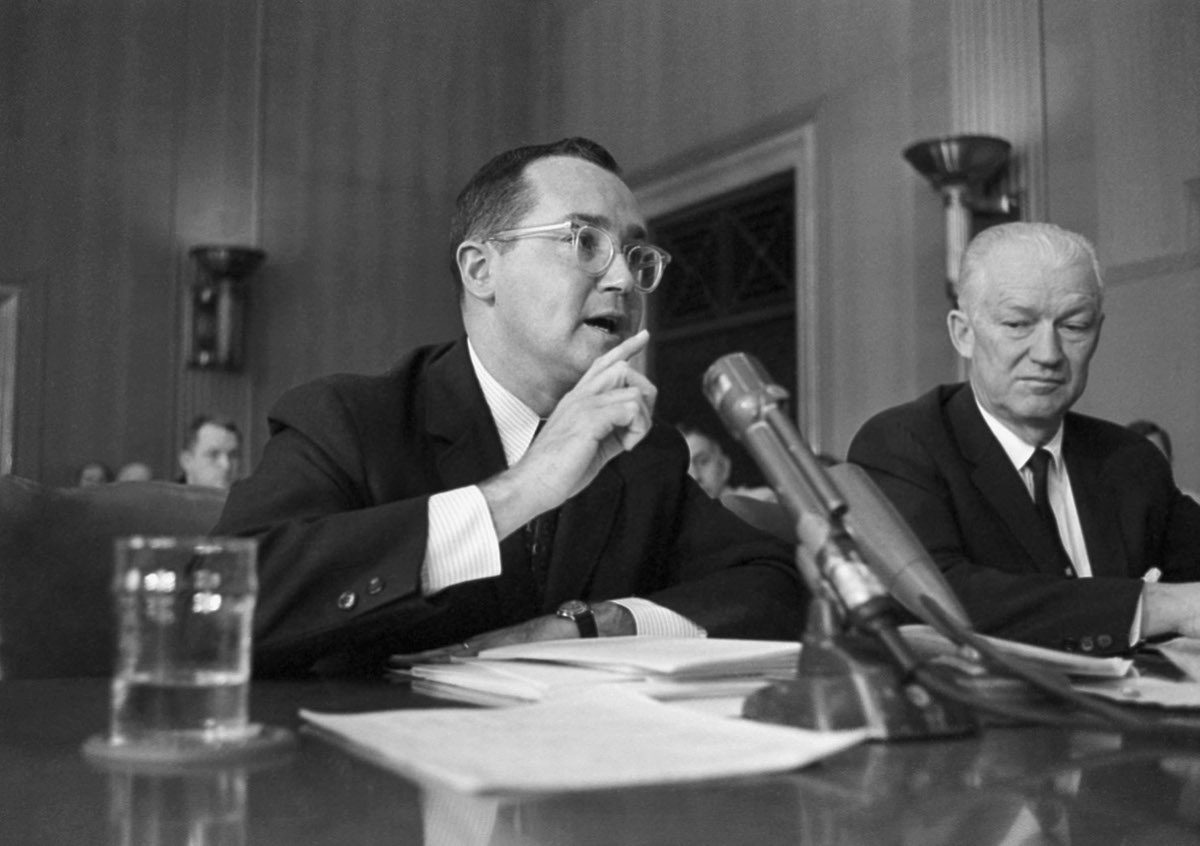 Newton N. Minow, FCC chairman, testifies before a Senate subcommittee on May 23, 1961, weeks after delivering his 'vast wasteland' speech.